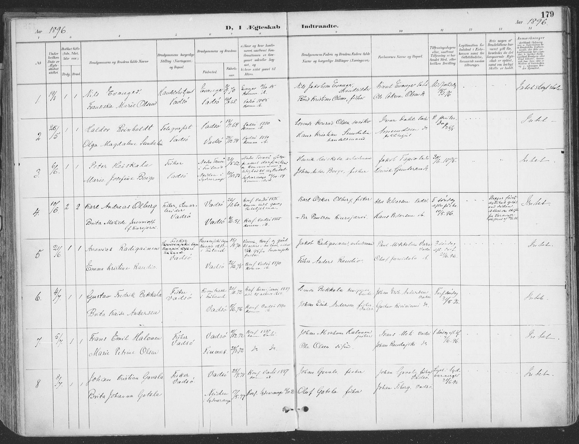 SATØ, Vadsø sokneprestkontor, H/Ha/L0007kirke: Ministerialbok nr. 7, 1896-1916, s. 179