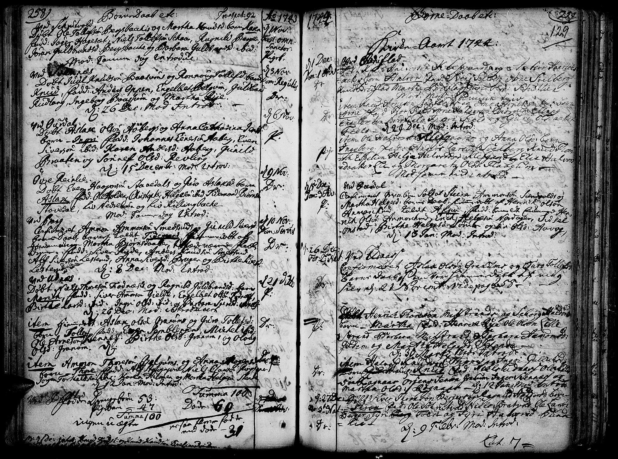 SAH, Aurdal prestekontor, Ministerialbok nr. 4, 1730-1762, s. 258-259