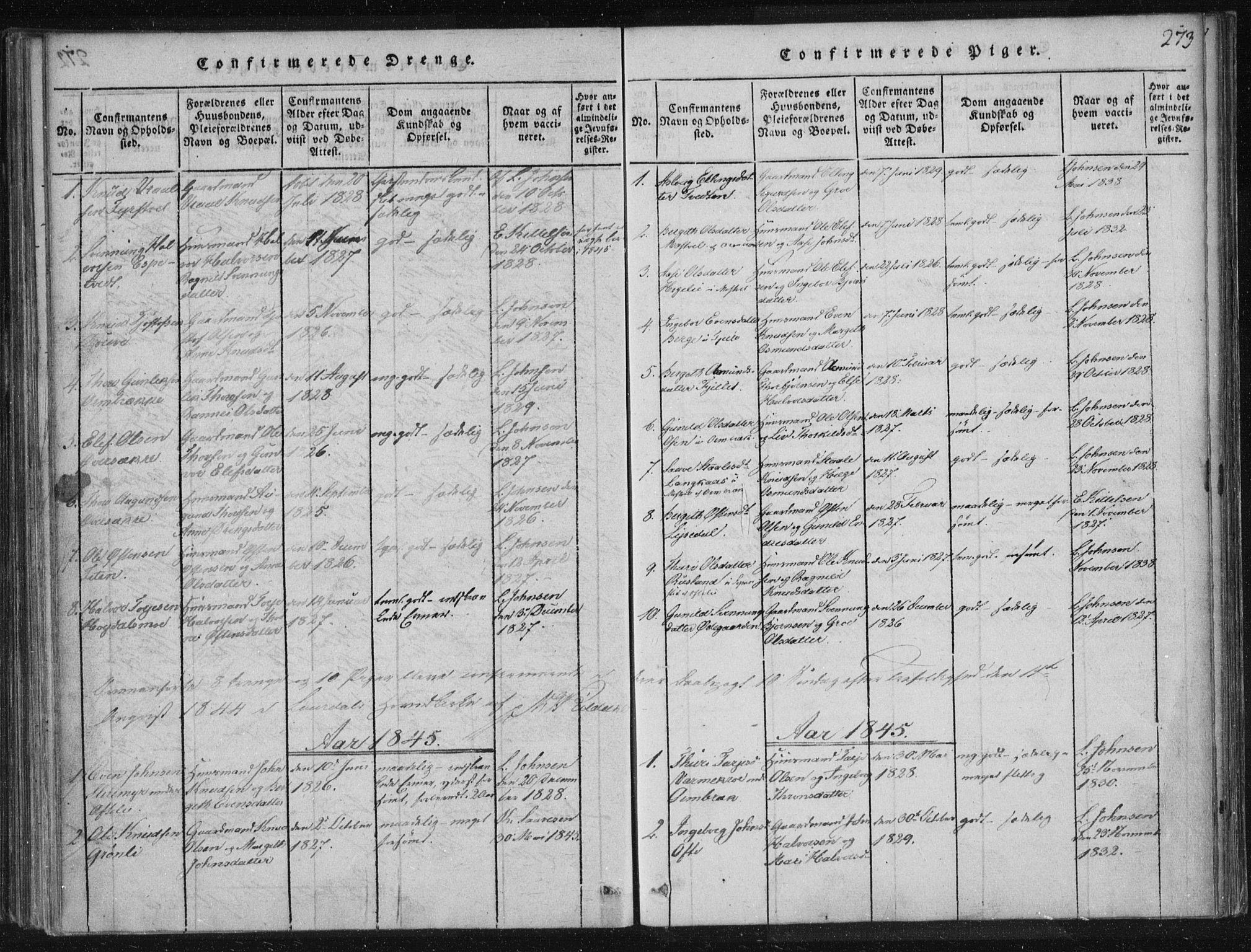 SAKO, Lårdal kirkebøker, F/Fc/L0001: Ministerialbok nr. III 1, 1815-1860, s. 273