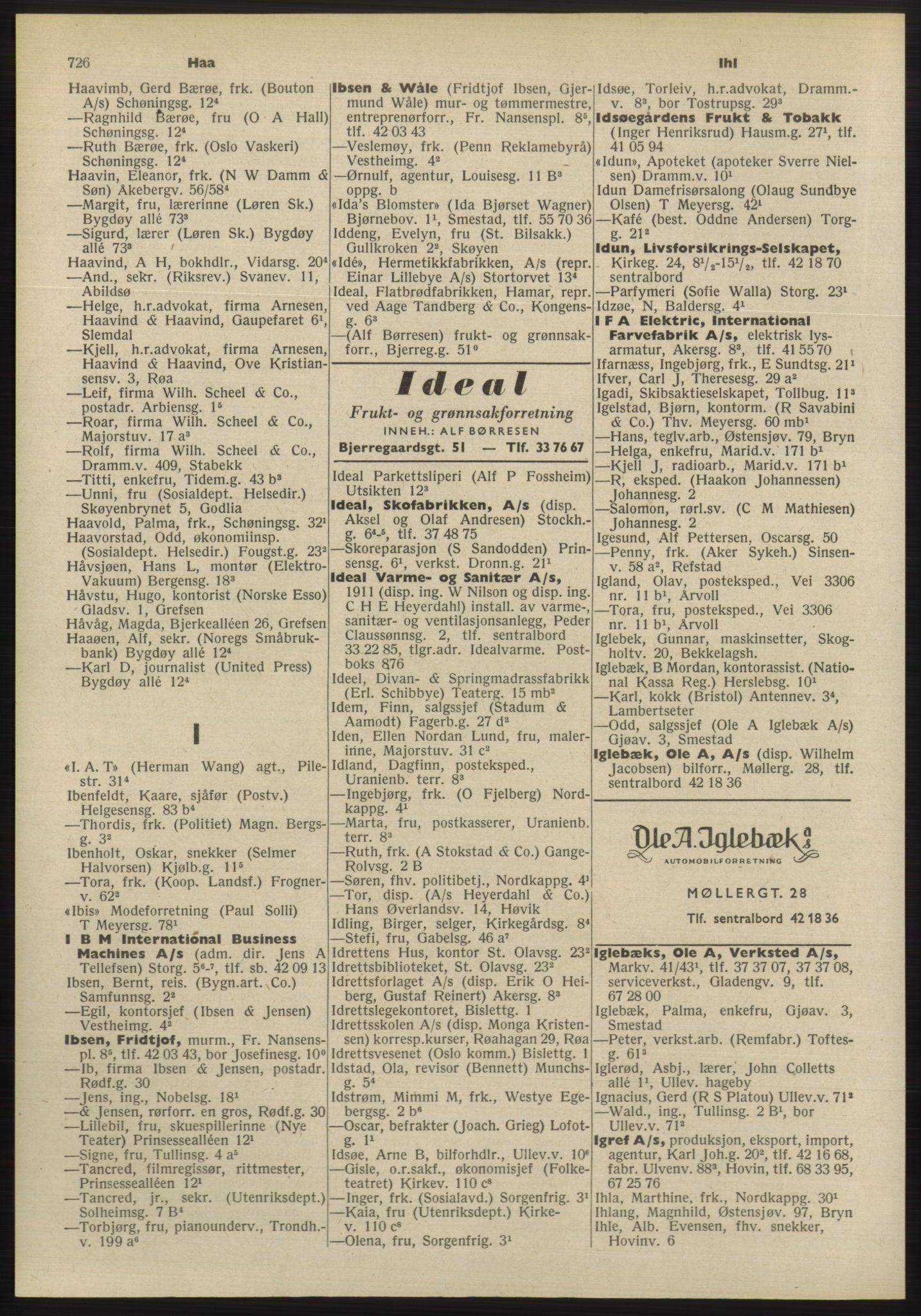 PUBL, Kristiania/Oslo adressebok, 1955, s. 726