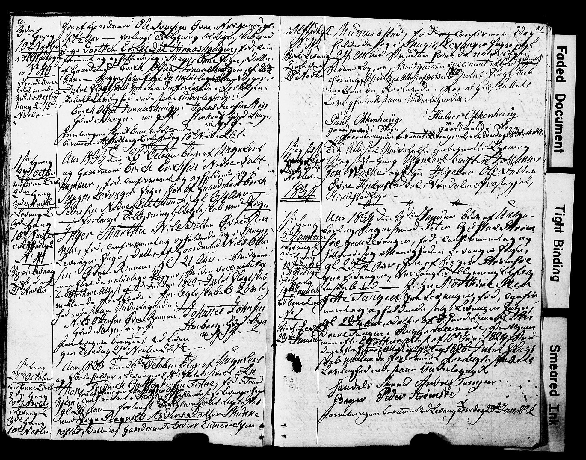 SAT, Ministerialprotokoller, klokkerbøker og fødselsregistre - Nord-Trøndelag, 717/L0160: Forlovererklæringer nr. 717A10, 1828-1850, s. 86-87