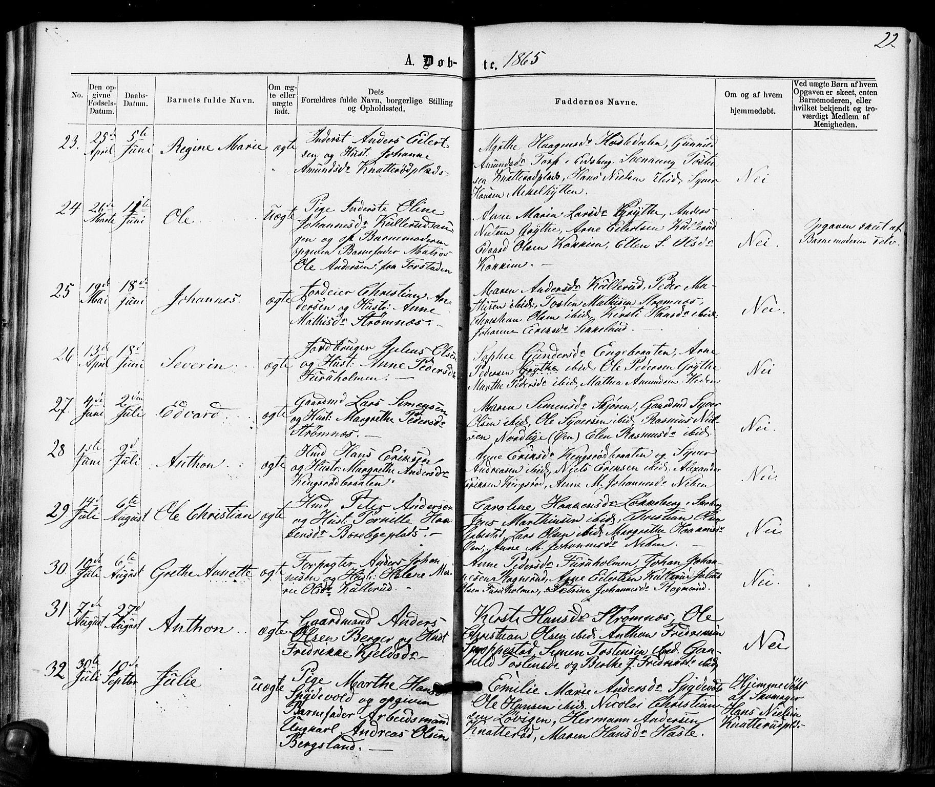 SAO, Varteig prestekontor Kirkebøker, F/Fa/L0001: Ministerialbok nr. 1, 1861-1877, s. 22