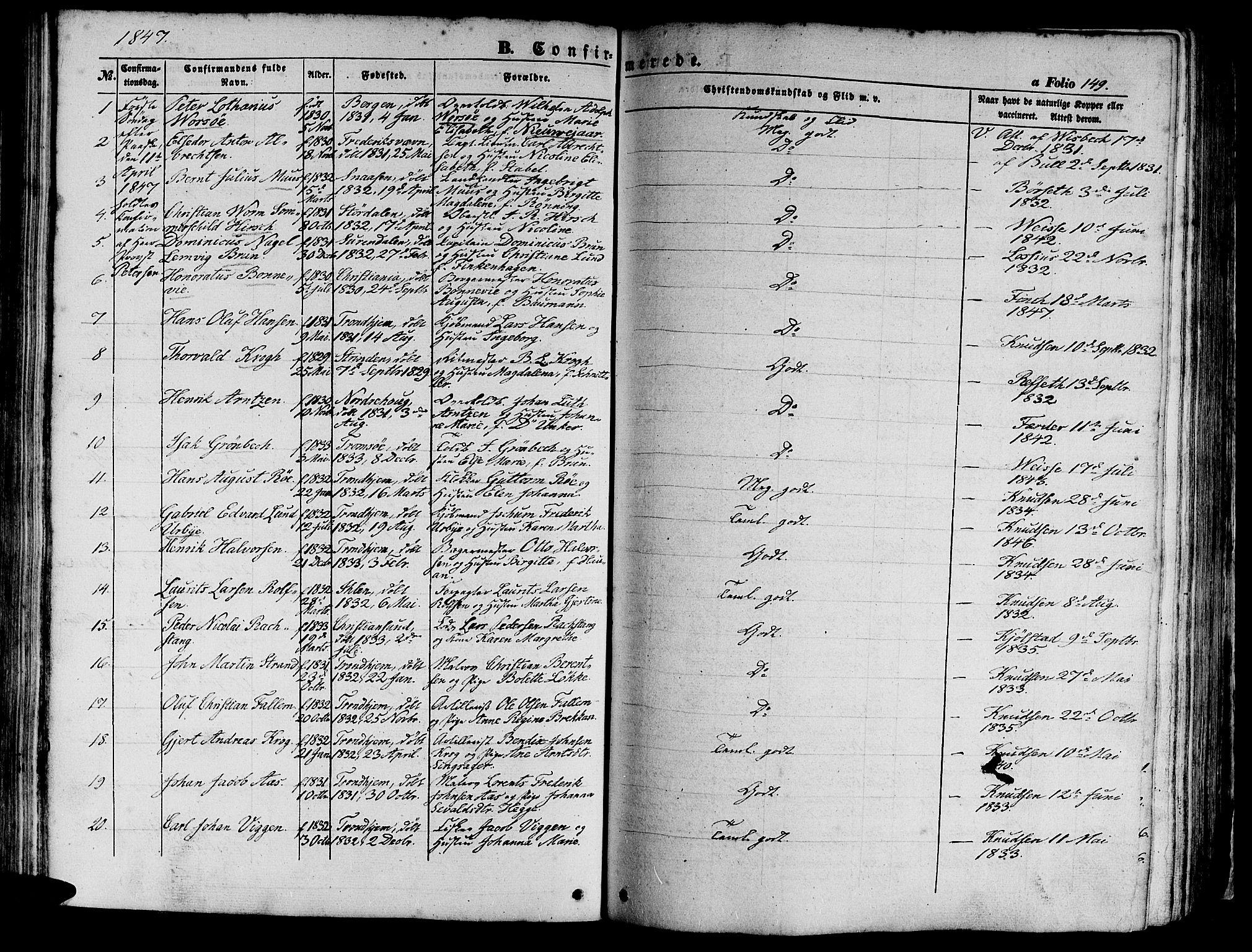 SAT, Ministerialprotokoller, klokkerbøker og fødselsregistre - Sør-Trøndelag, 602/L0137: Klokkerbok nr. 602C05, 1846-1856, s. 149