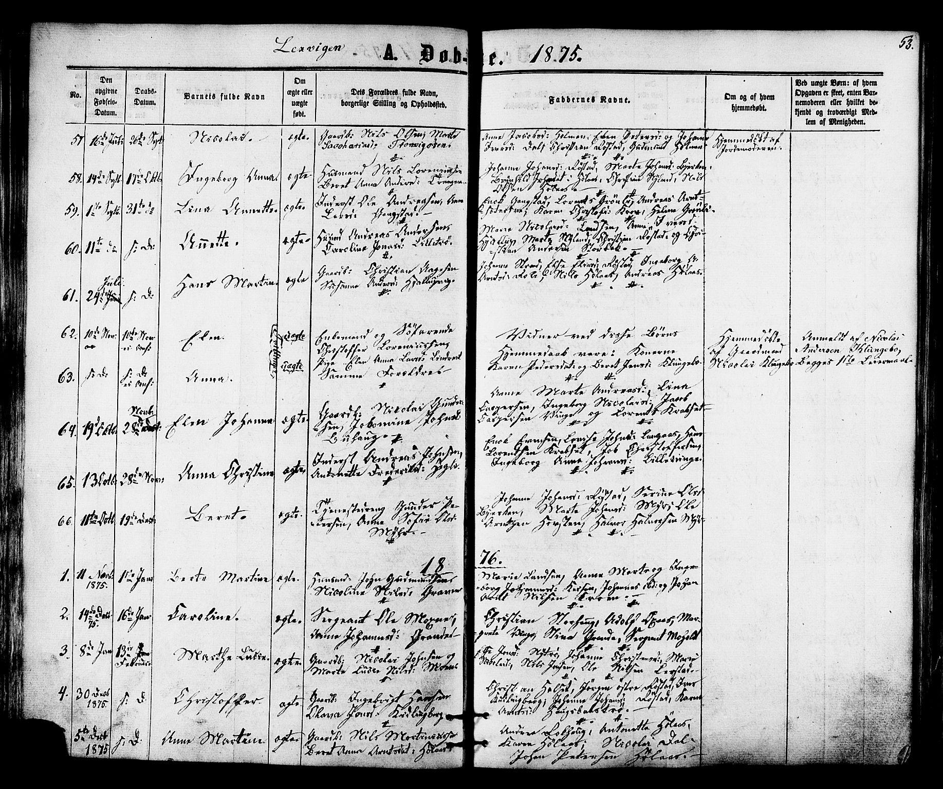 SAT, Ministerialprotokoller, klokkerbøker og fødselsregistre - Nord-Trøndelag, 701/L0009: Ministerialbok nr. 701A09 /1, 1864-1882, s. 53