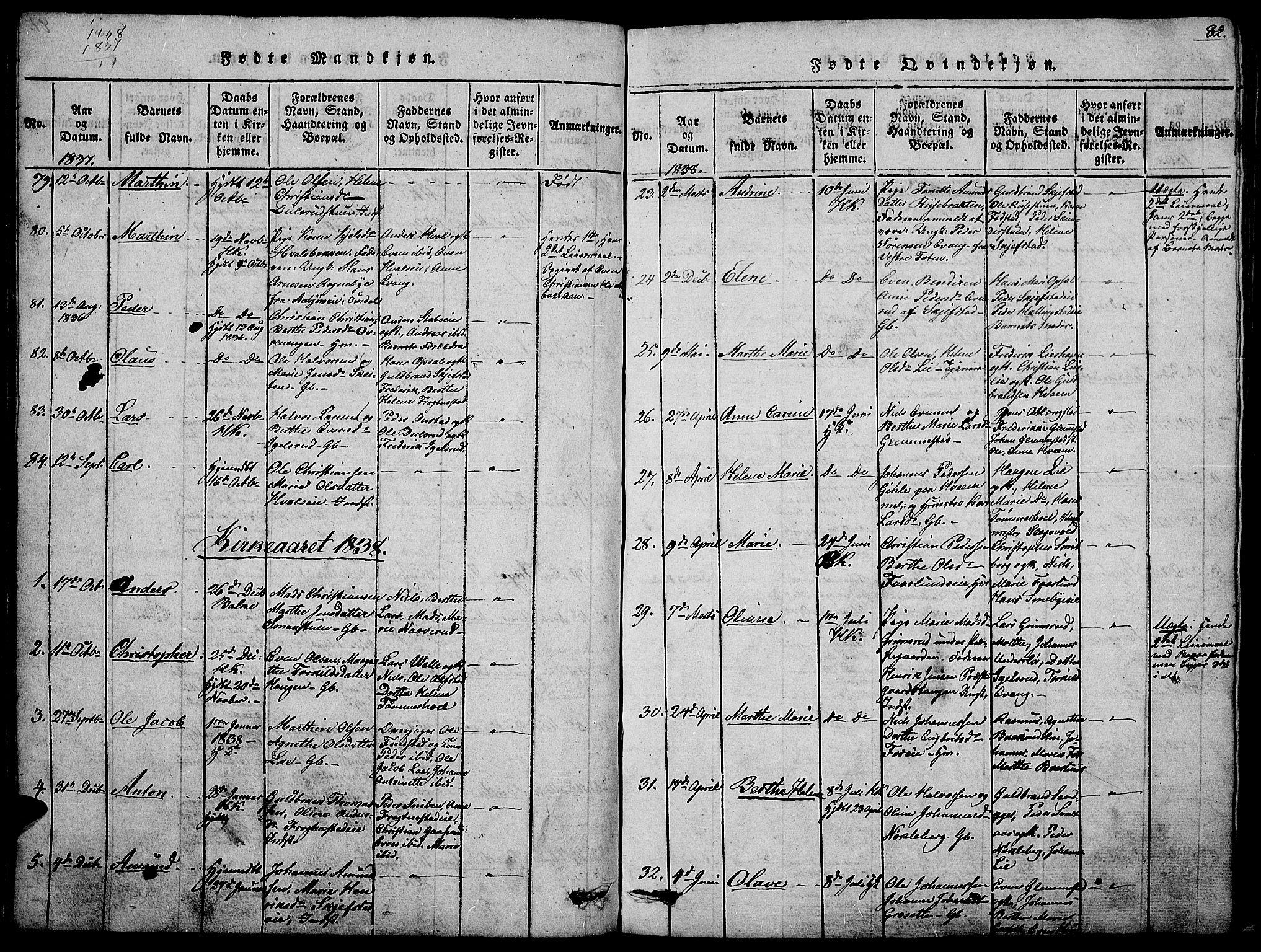 SAH, Østre Toten prestekontor, Klokkerbok nr. 1, 1827-1839, s. 82