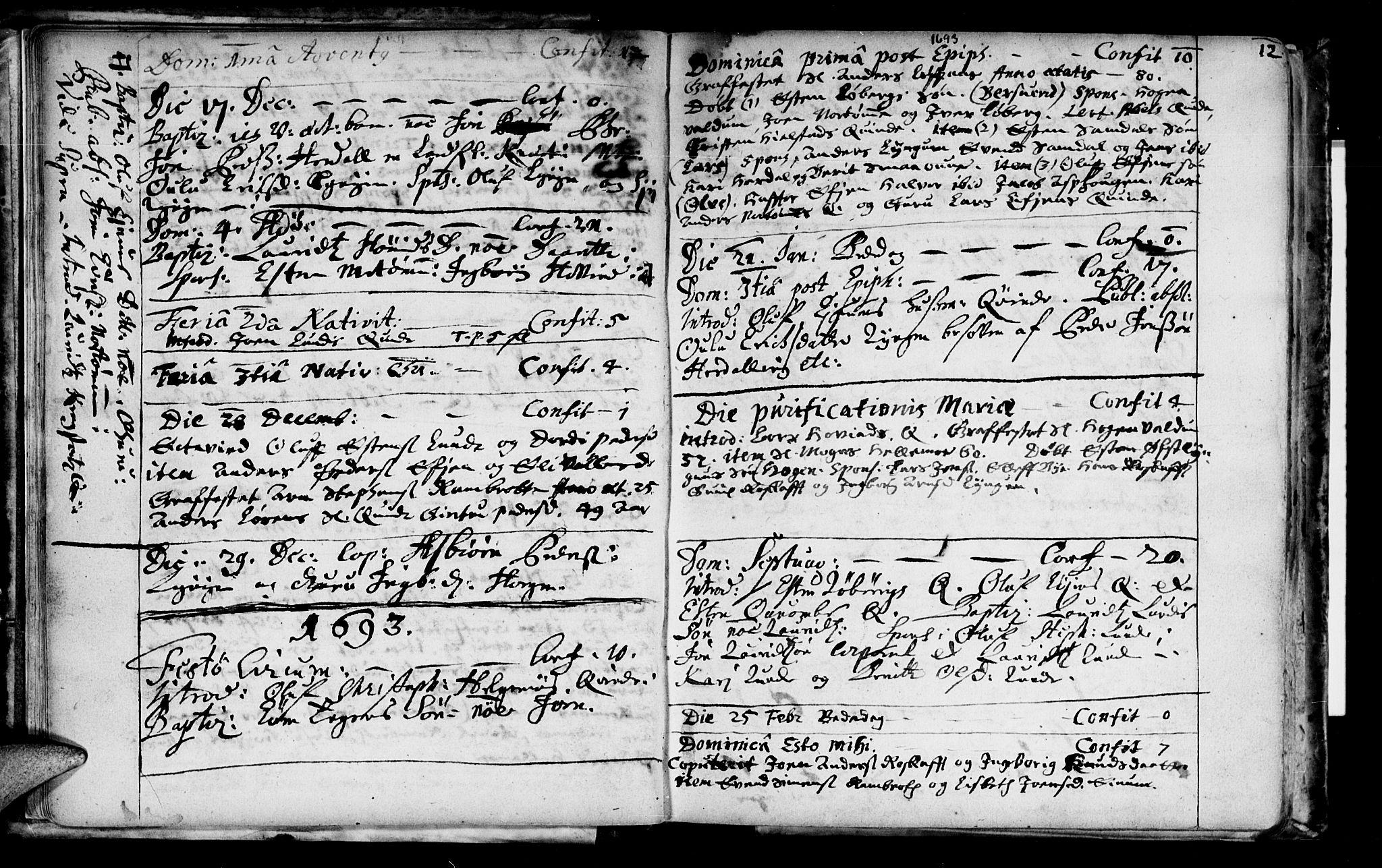 SAT, Ministerialprotokoller, klokkerbøker og fødselsregistre - Sør-Trøndelag, 692/L1101: Ministerialbok nr. 692A01, 1690-1746, s. 12
