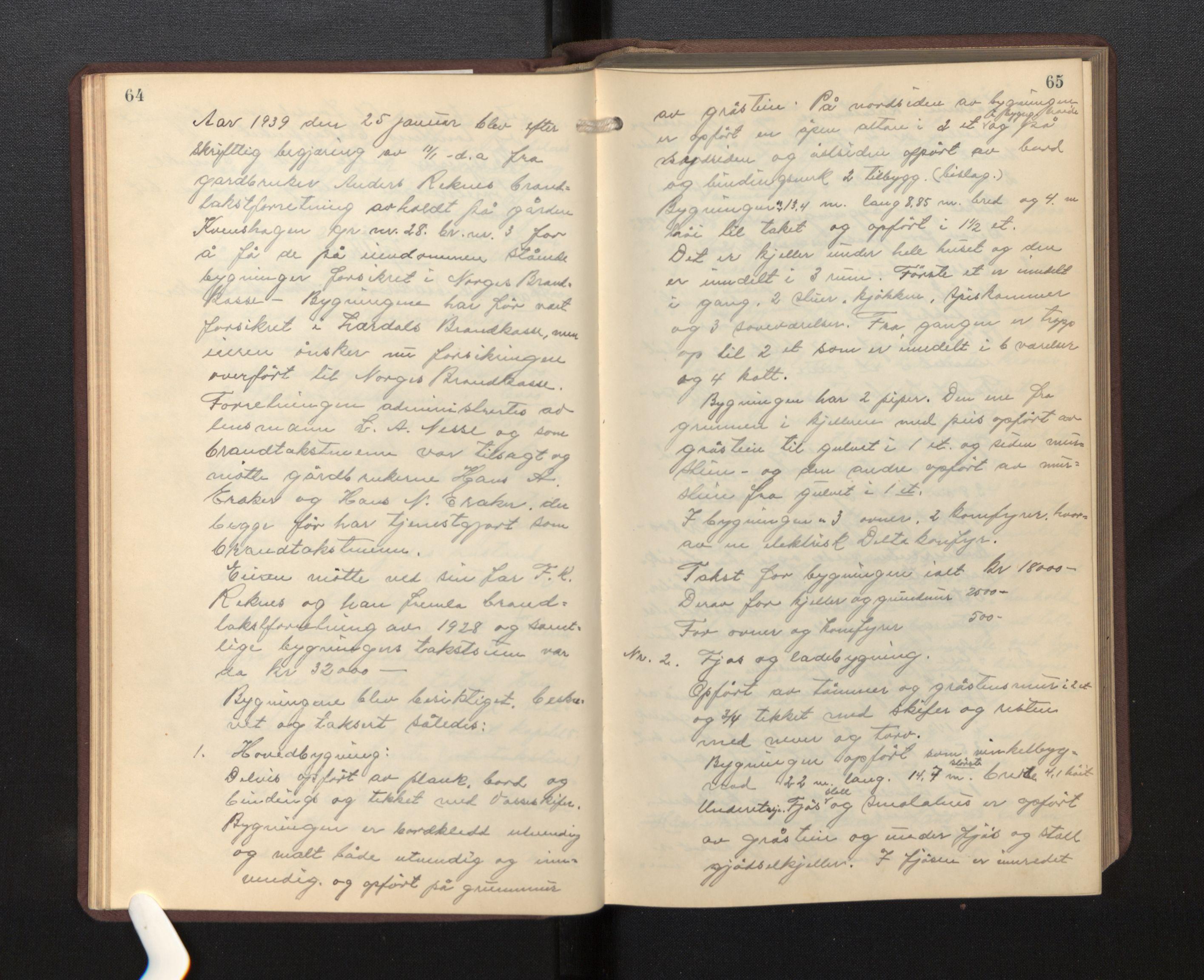 SAB, Lensmannen i Borgund, 0012/L0002: Branntakstprotokoll, 1929-1933, s. 64-65