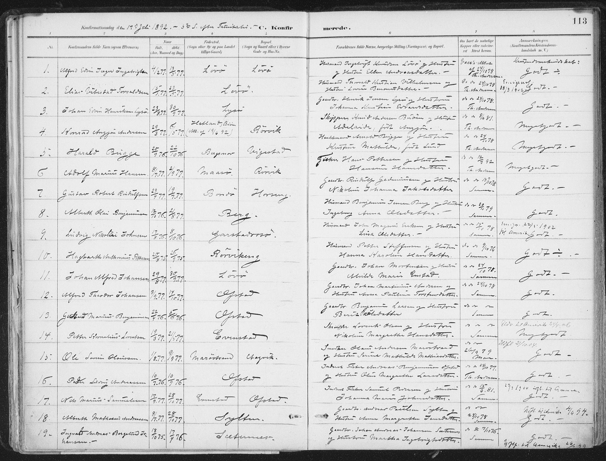 SAT, Ministerialprotokoller, klokkerbøker og fødselsregistre - Nord-Trøndelag, 786/L0687: Ministerialbok nr. 786A03, 1888-1898, s. 113