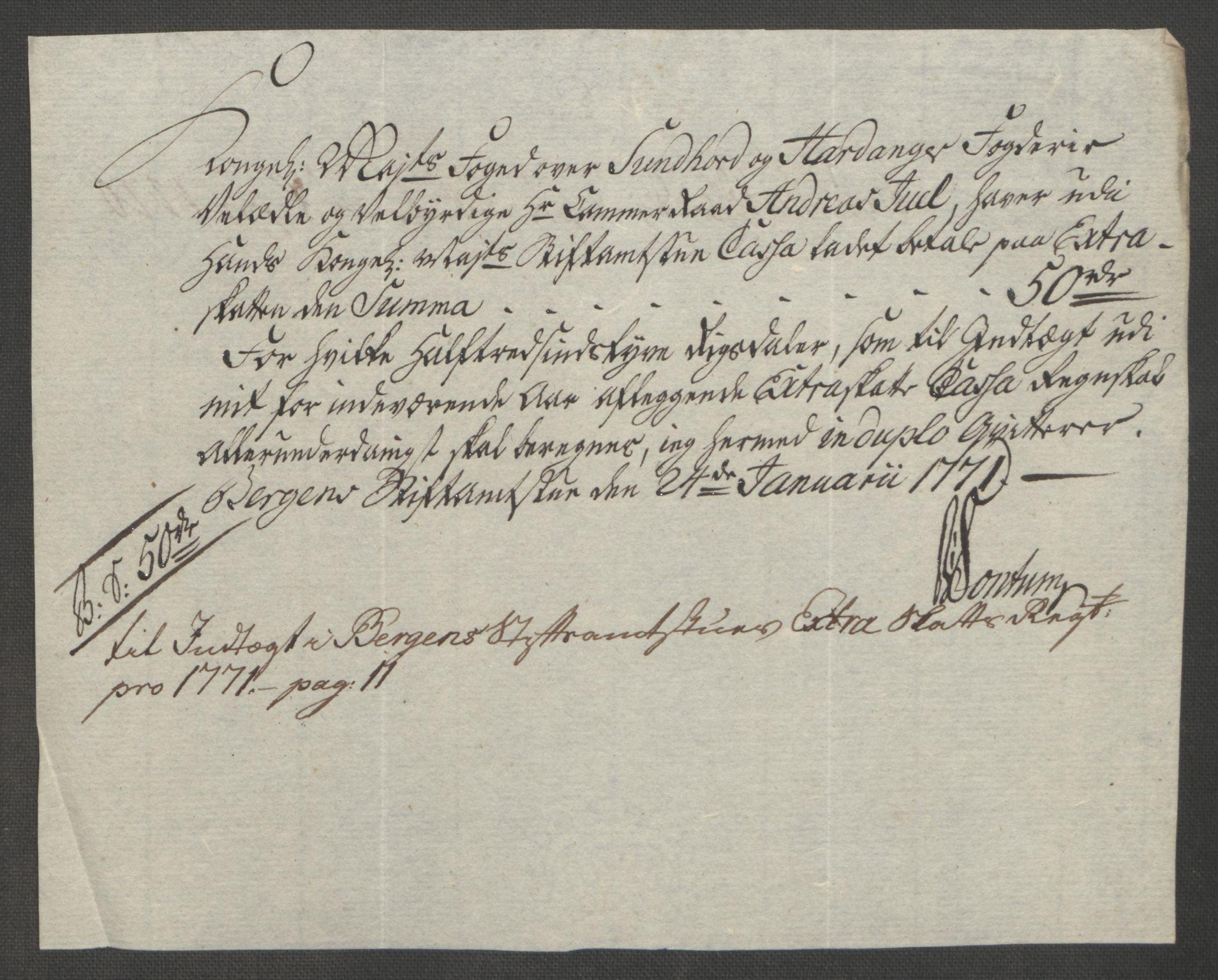 RA, Rentekammeret inntil 1814, Reviderte regnskaper, Fogderegnskap, R48/L3136: Ekstraskatten Sunnhordland og Hardanger, 1762-1772, s. 224