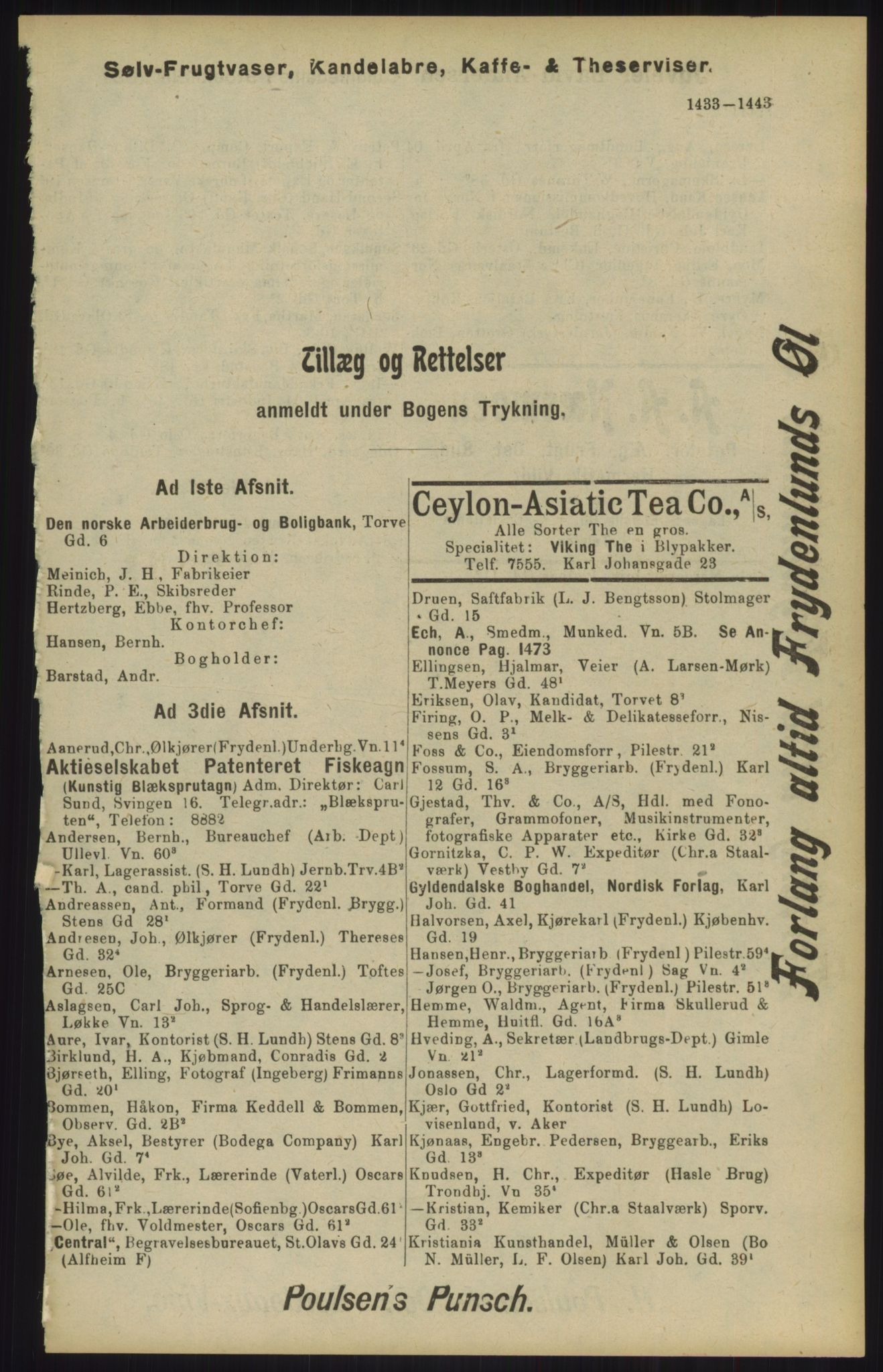 RA, Kristiania adressebok (publikasjon)*, 1904, s. 1433
