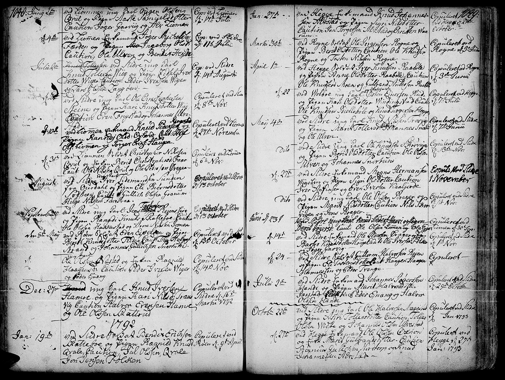 SAH, Slidre prestekontor, Ministerialbok nr. 1, 1724-1814, s. 1048-1049