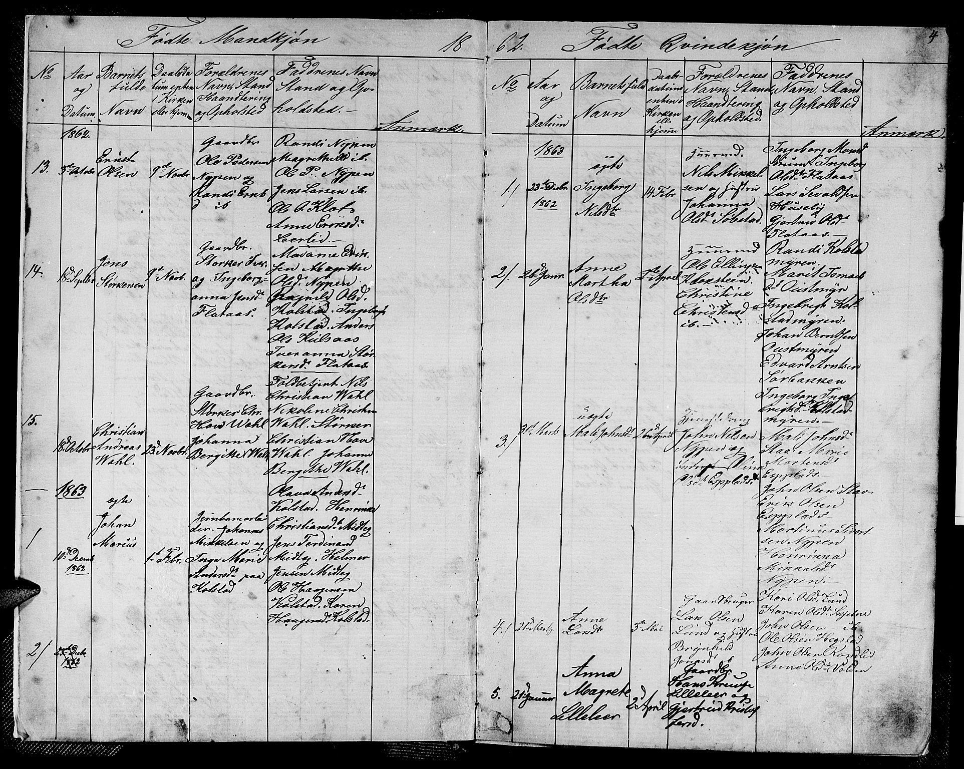 SAT, Ministerialprotokoller, klokkerbøker og fødselsregistre - Sør-Trøndelag, 613/L0394: Klokkerbok nr. 613C02, 1862-1886, s. 4