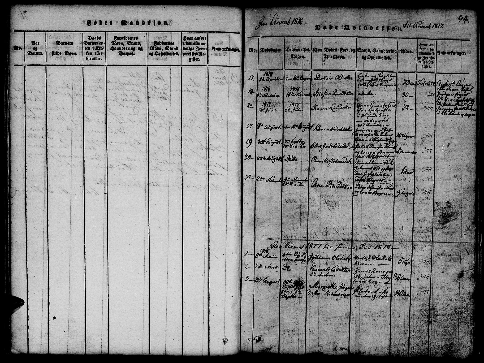 SAT, Ministerialprotokoller, klokkerbøker og fødselsregistre - Nord-Trøndelag, 765/L0562: Klokkerbok nr. 765C01, 1817-1851, s. 94