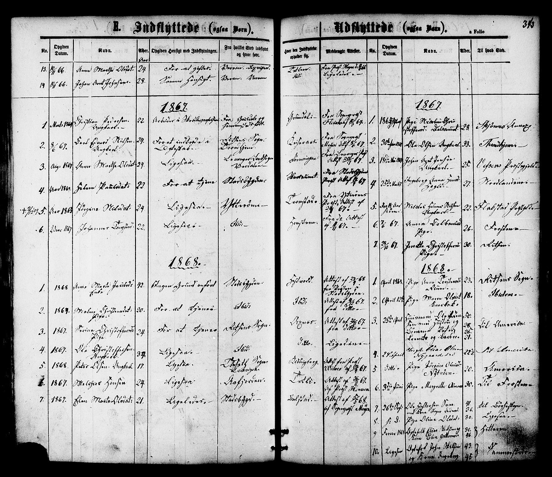 SAT, Ministerialprotokoller, klokkerbøker og fødselsregistre - Nord-Trøndelag, 701/L0009: Ministerialbok nr. 701A09 /1, 1864-1882, s. 343
