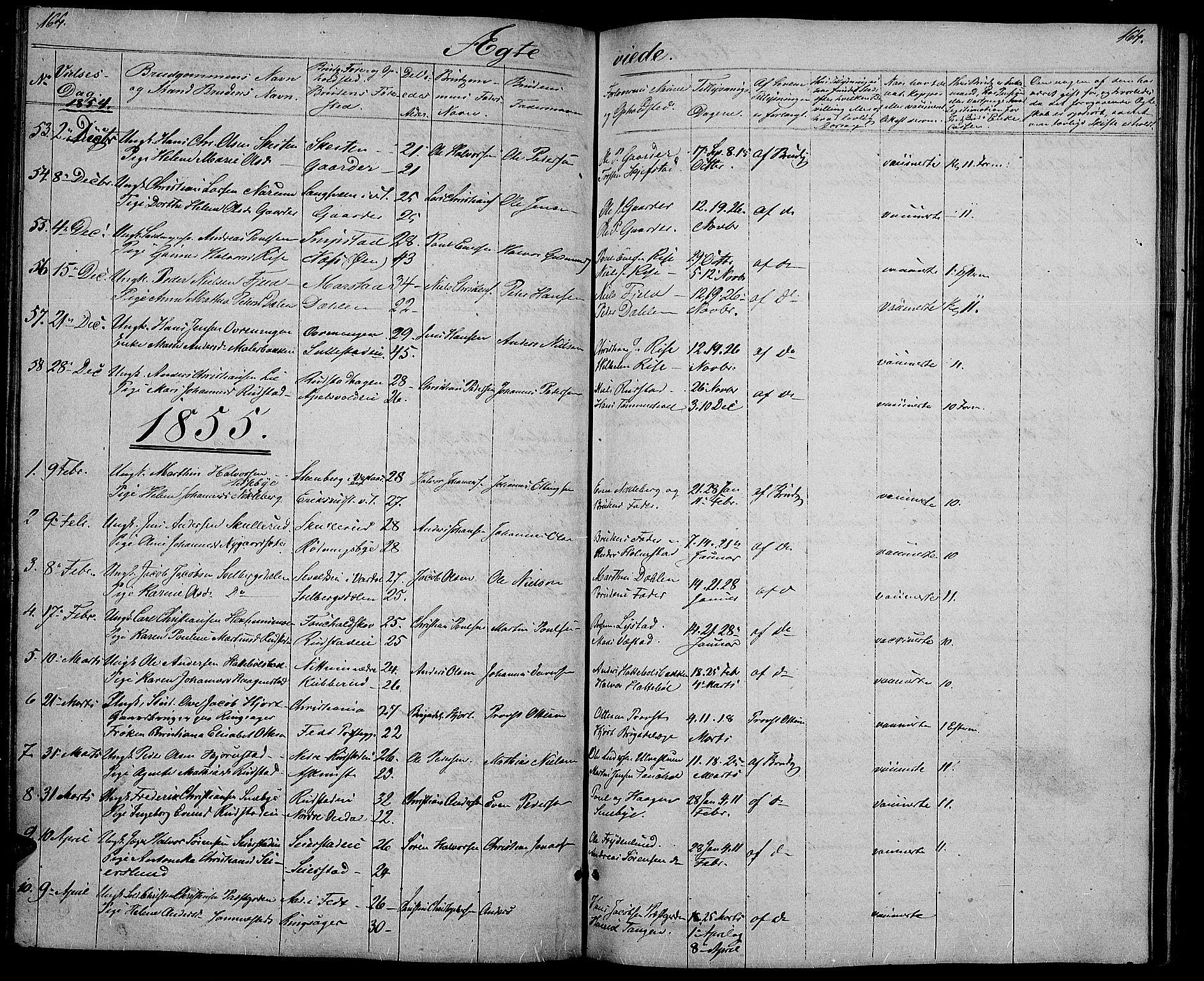 SAH, Østre Toten prestekontor, Klokkerbok nr. 3, 1848-1857, s. 164
