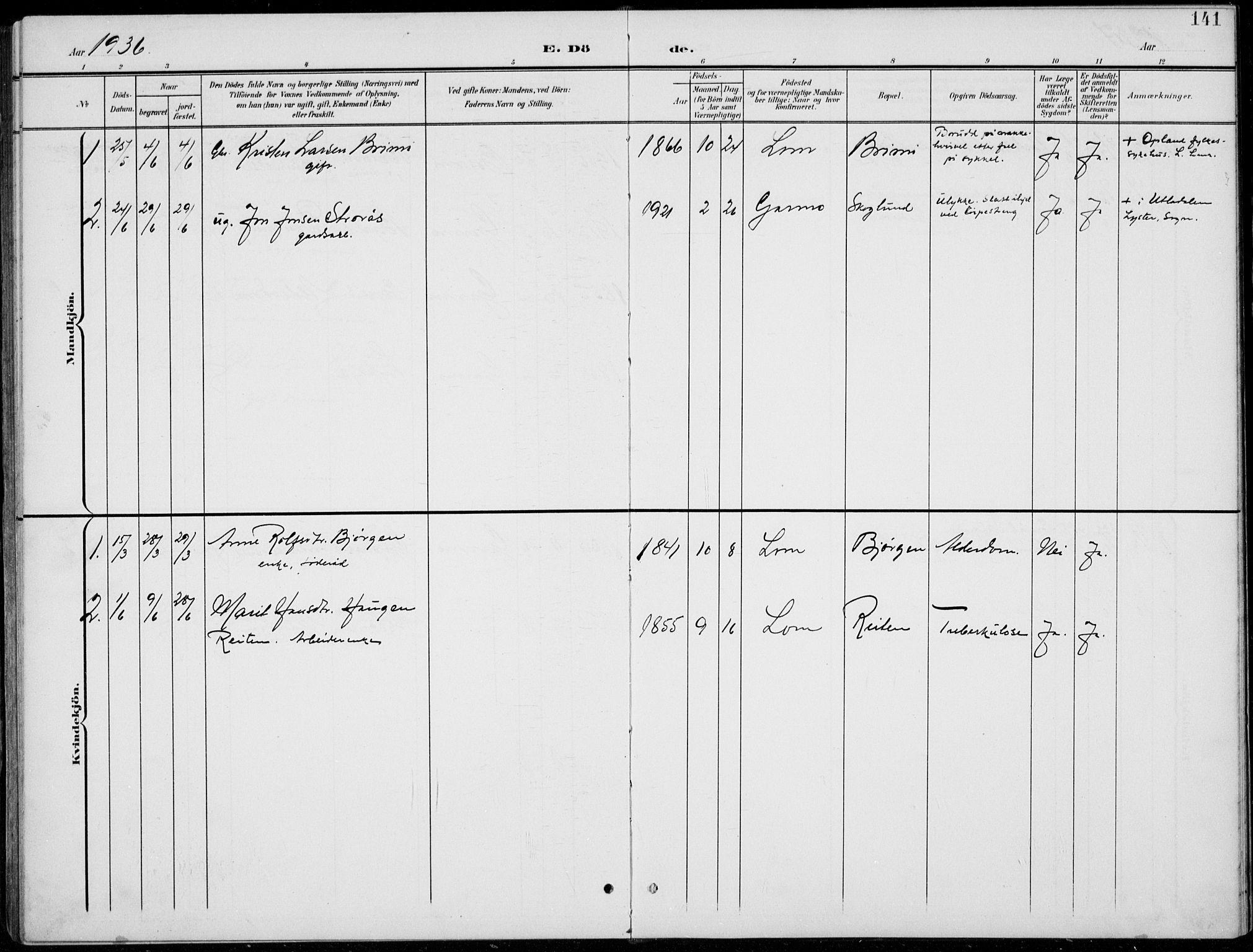 SAH, Lom prestekontor, L/L0006: Klokkerbok nr. 6, 1901-1939, s. 141