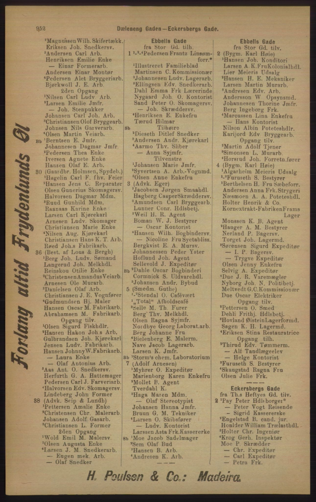 RA, Kristiania adressebok (publikasjon)*, 1905, s. 952
