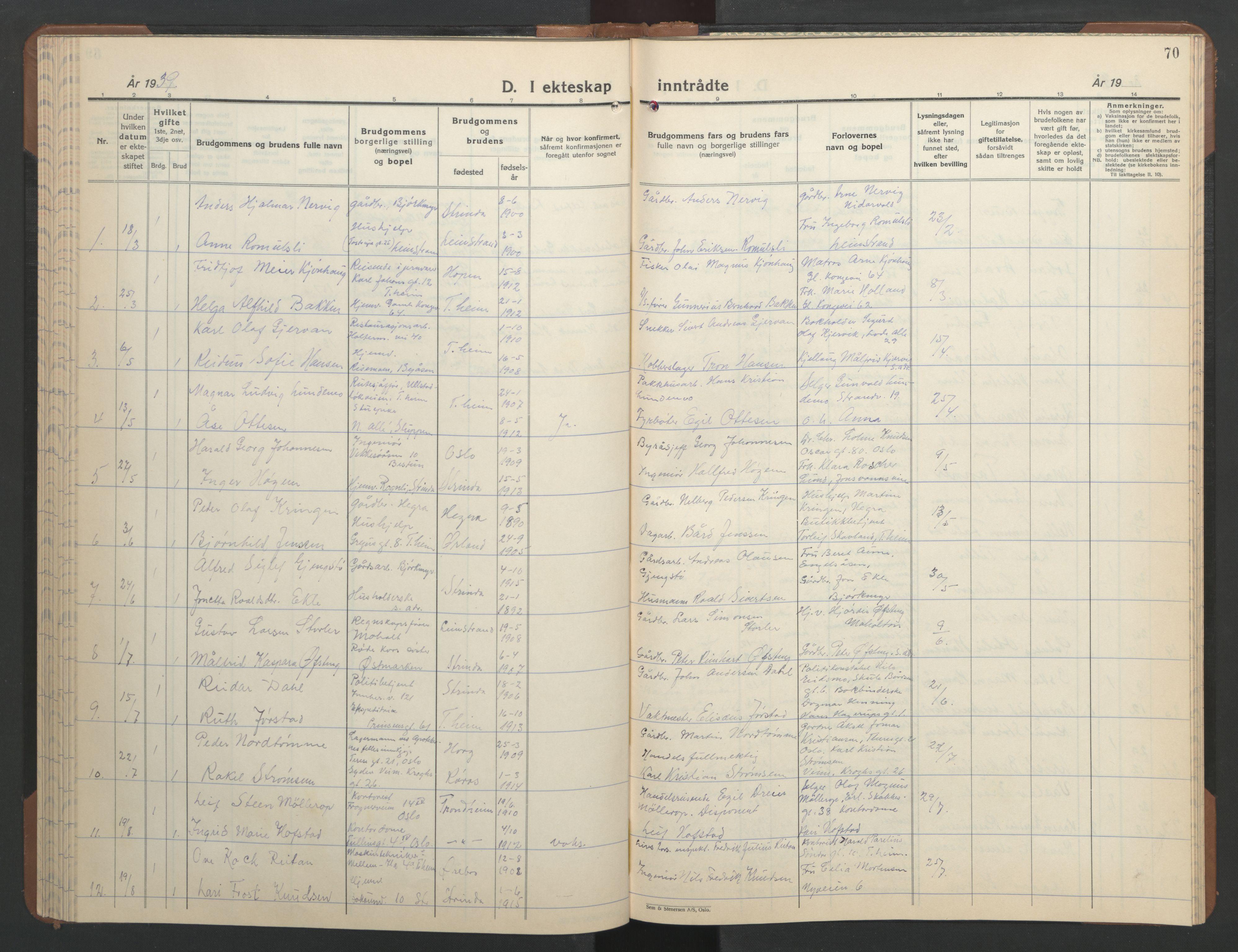 SAT, Ministerialprotokoller, klokkerbøker og fødselsregistre - Sør-Trøndelag, 606/L0315: Klokkerbok nr. 606C11, 1938-1947, s. 70