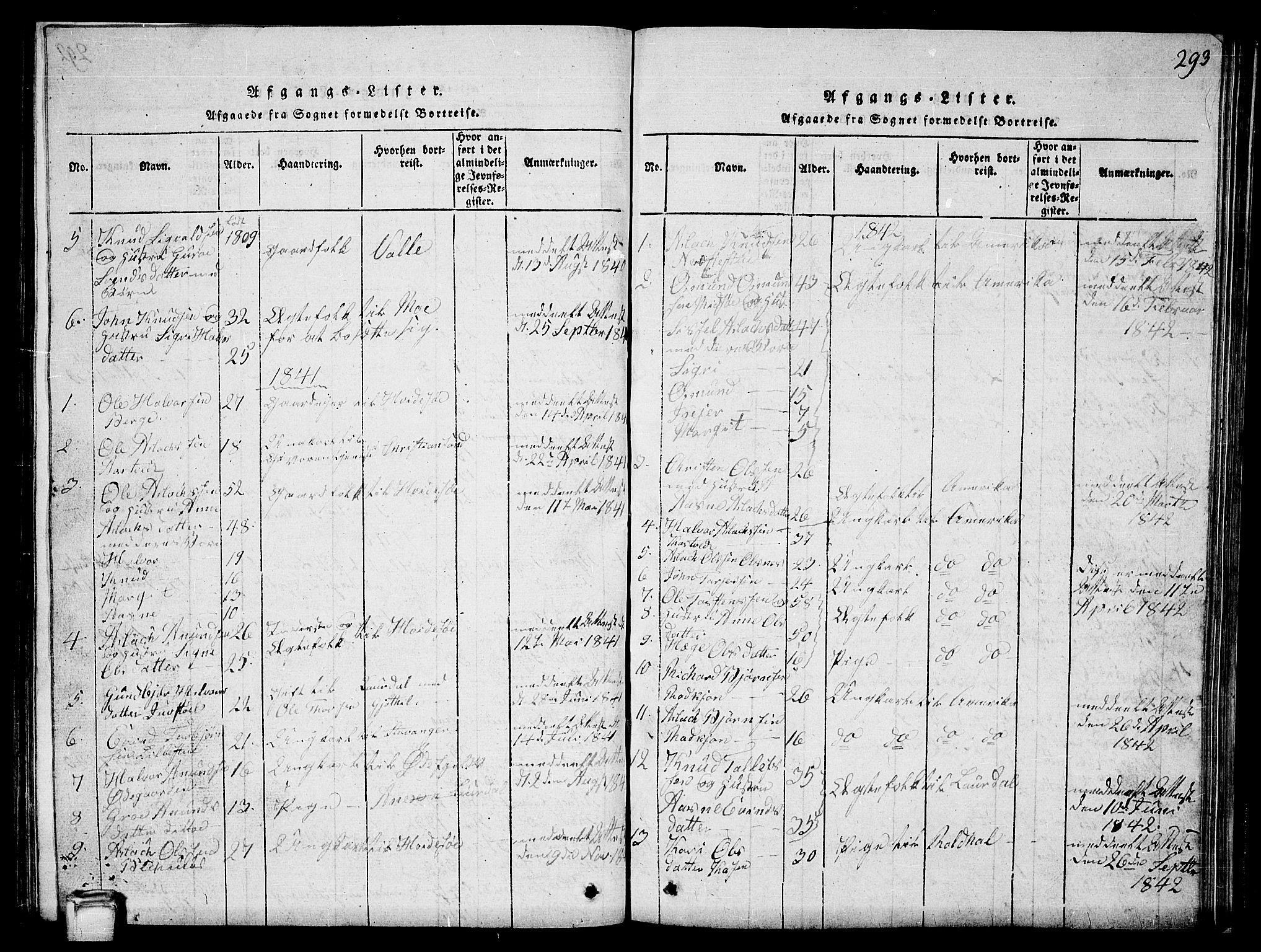 SAKO, Vinje kirkebøker, G/Ga/L0001: Klokkerbok nr. I 1, 1814-1843, s. 293