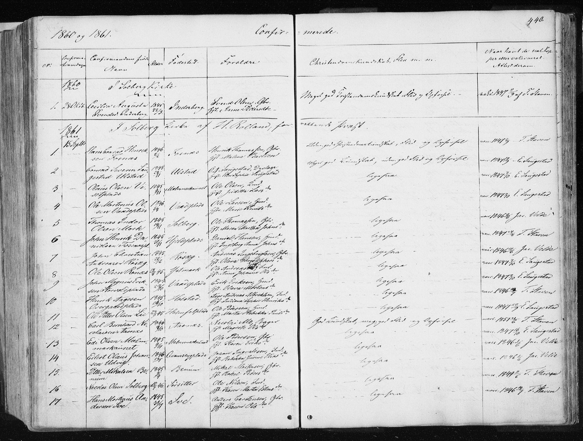 SAT, Ministerialprotokoller, klokkerbøker og fødselsregistre - Nord-Trøndelag, 741/L0393: Ministerialbok nr. 741A07, 1849-1863, s. 440