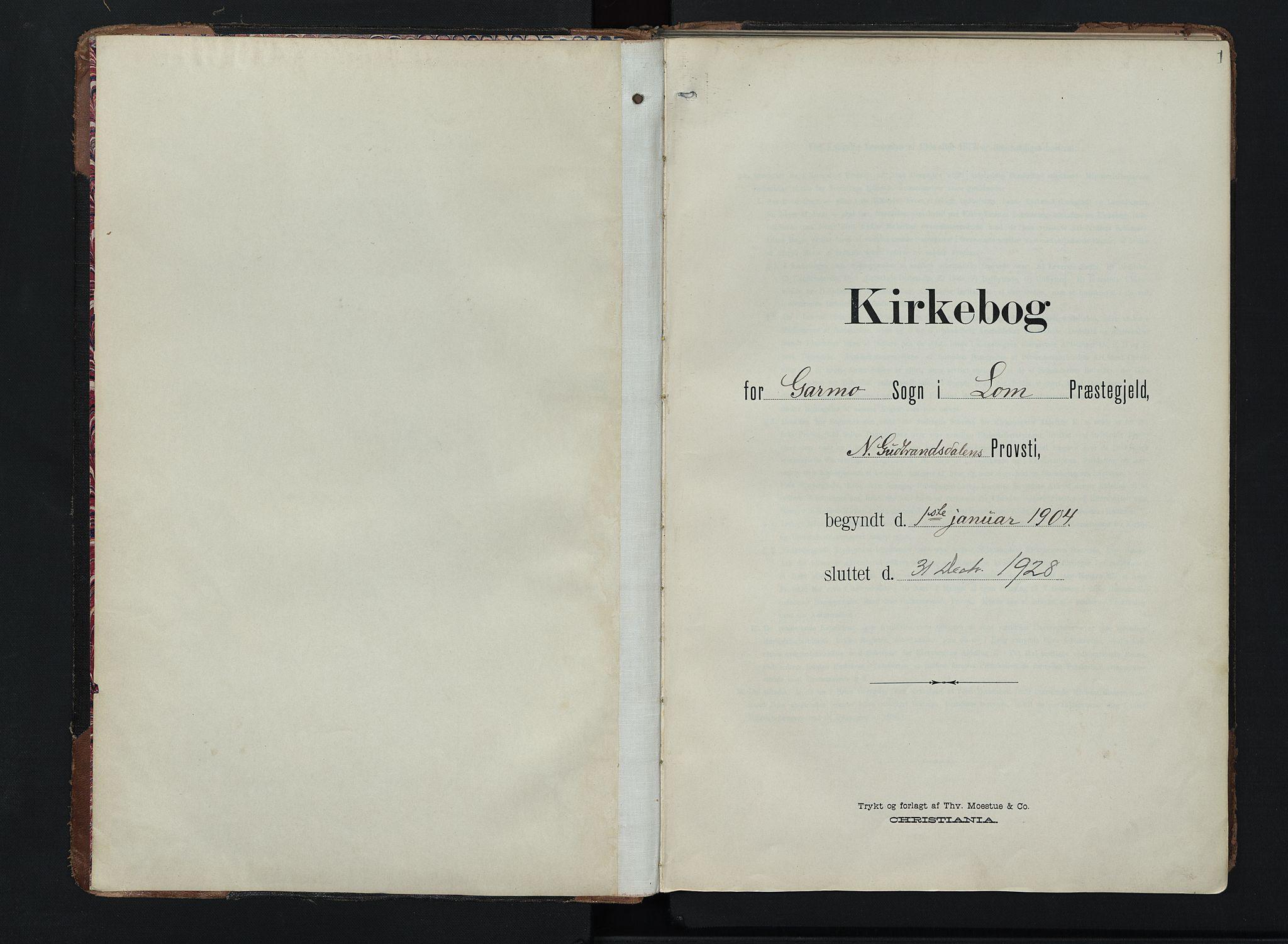 SAH, Lom prestekontor, K/L0011: Ministerialbok nr. 11, 1904-1928, s. 1