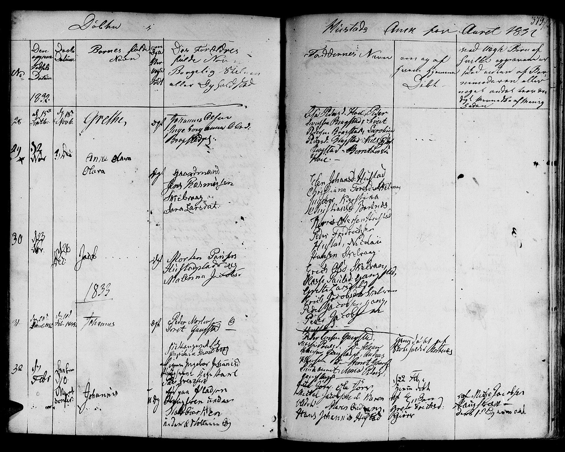 SAT, Ministerialprotokoller, klokkerbøker og fødselsregistre - Nord-Trøndelag, 730/L0277: Ministerialbok nr. 730A06 /3, 1830-1839, s. 379
