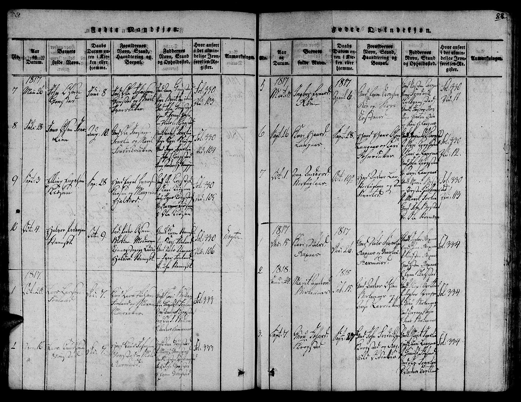 SAT, Ministerialprotokoller, klokkerbøker og fødselsregistre - Sør-Trøndelag, 691/L1068: Ministerialbok nr. 691A03 /4, 1816-1826, s. 82