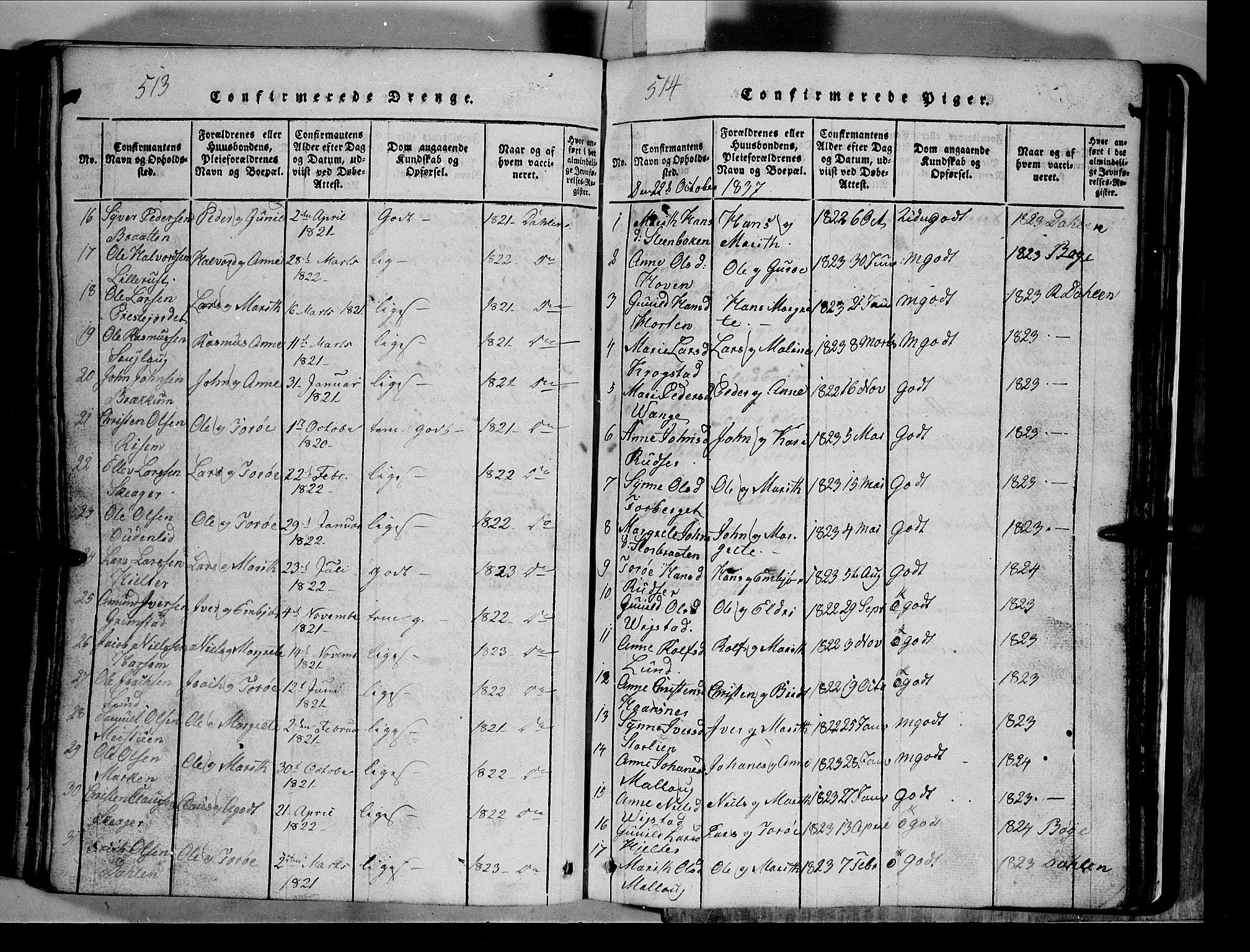 SAH, Lom prestekontor, L/L0003: Klokkerbok nr. 3, 1815-1844, s. 513-514