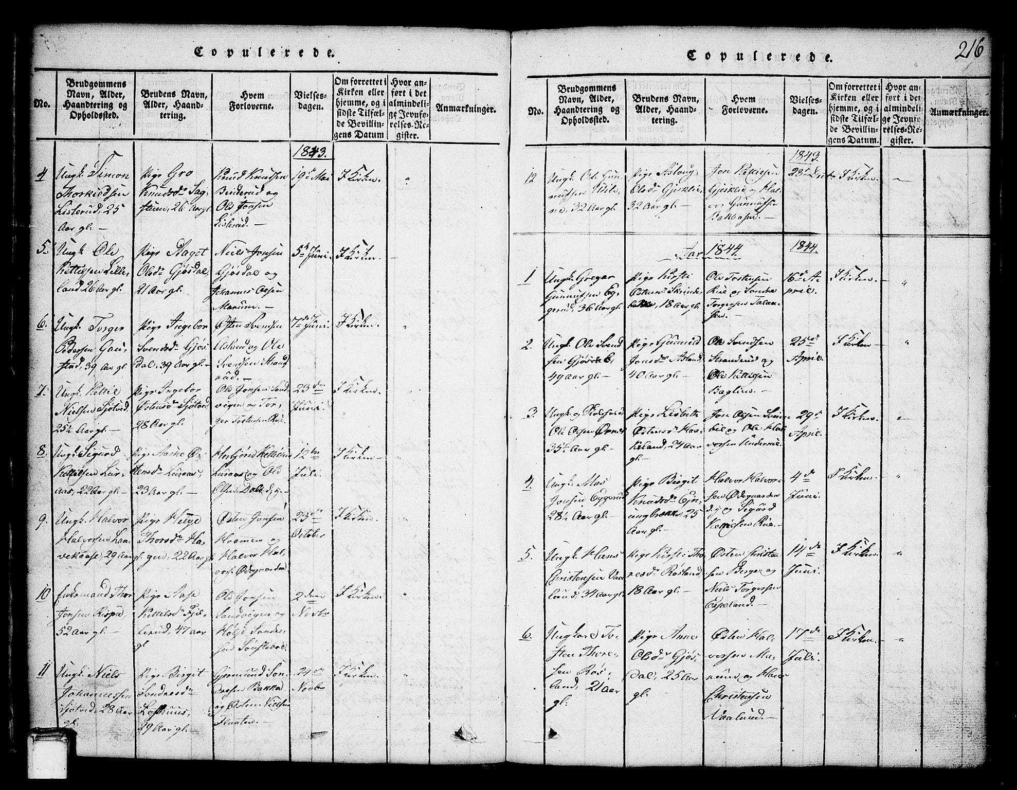 SAKO, Tinn kirkebøker, G/Ga/L0001: Klokkerbok nr. I 1, 1815-1850, s. 216