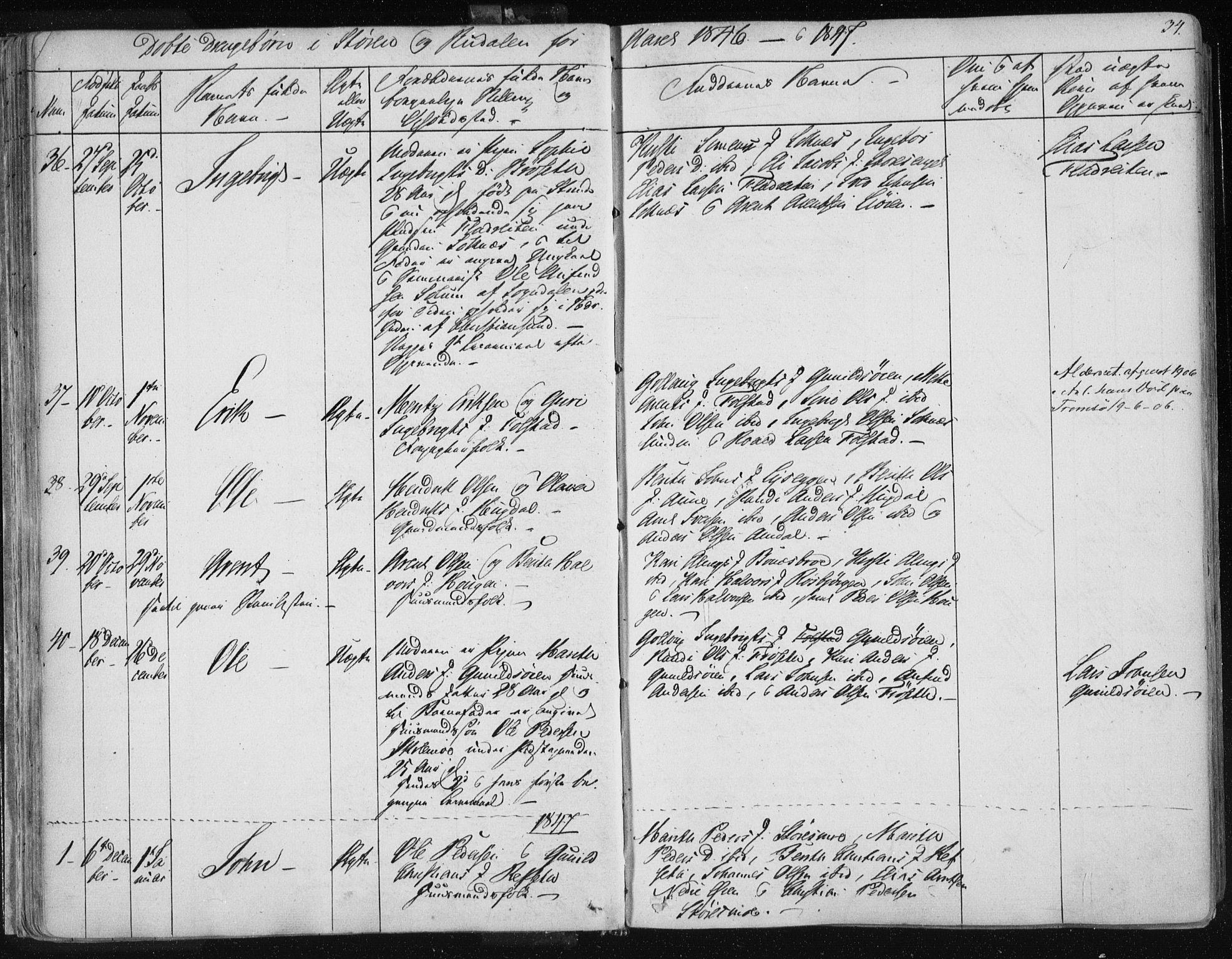 SAT, Ministerialprotokoller, klokkerbøker og fødselsregistre - Sør-Trøndelag, 687/L0997: Ministerialbok nr. 687A05 /1, 1843-1848, s. 34