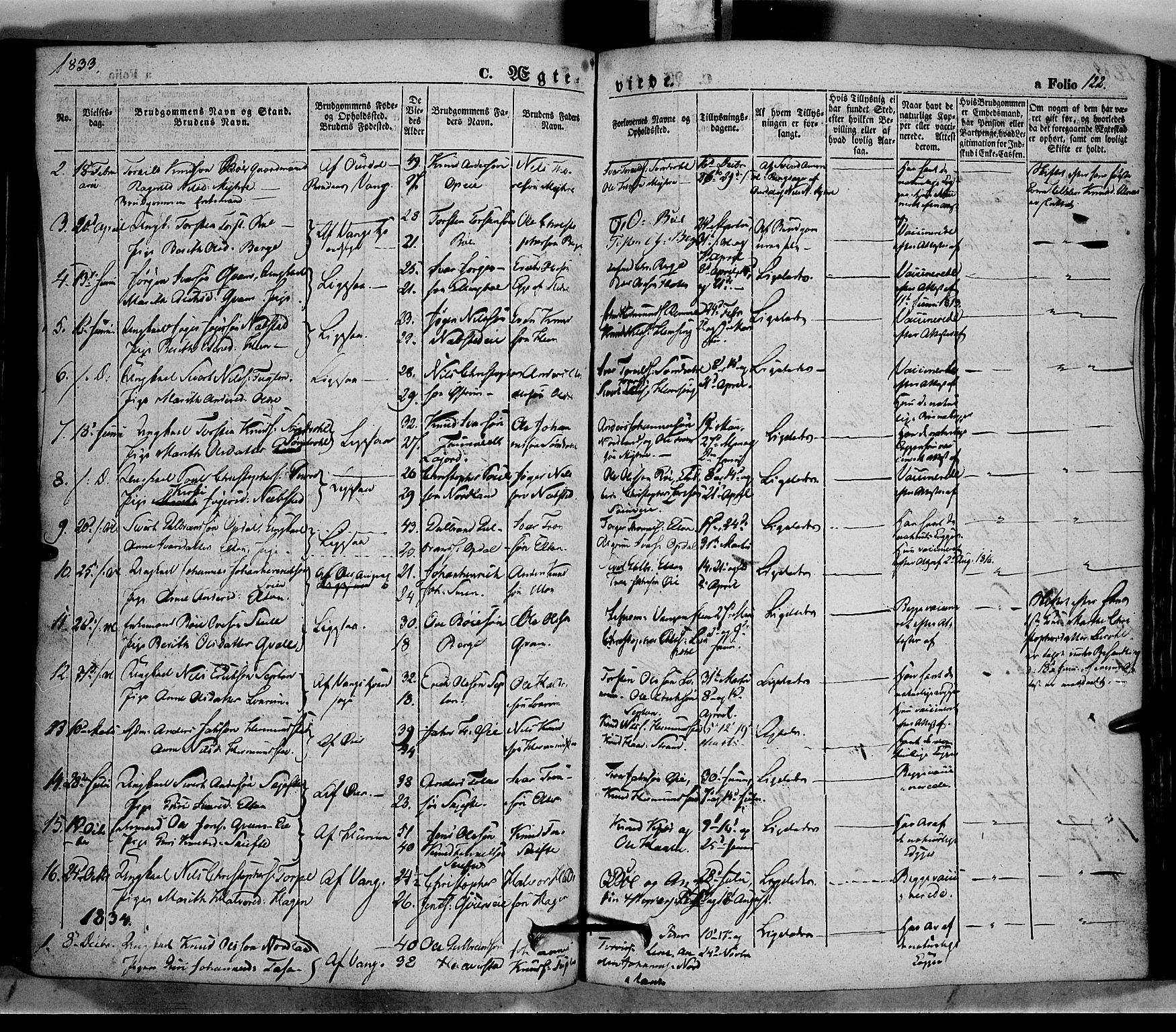 SAH, Vang prestekontor, Valdres, Ministerialbok nr. 5, 1831-1845, s. 122