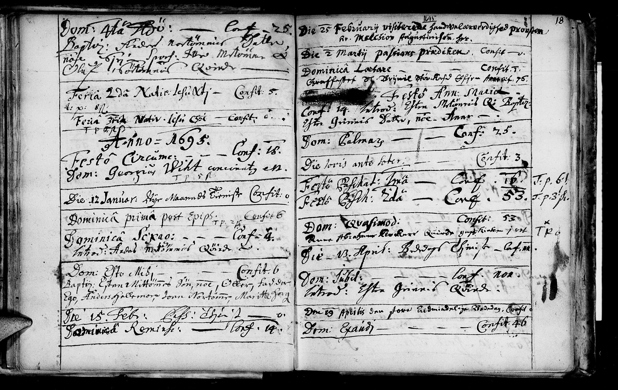 SAT, Ministerialprotokoller, klokkerbøker og fødselsregistre - Sør-Trøndelag, 692/L1101: Ministerialbok nr. 692A01, 1690-1746, s. 18