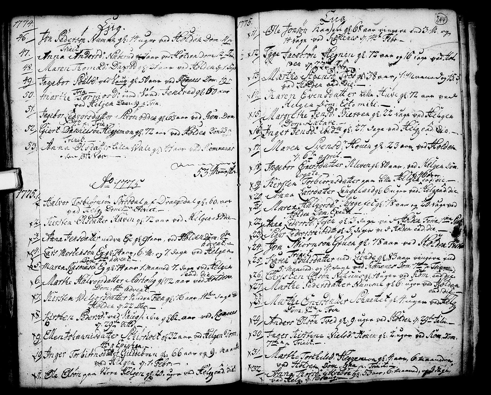 SAKO, Holla kirkebøker, F/Fa/L0001: Ministerialbok nr. 1, 1717-1779, s. 244