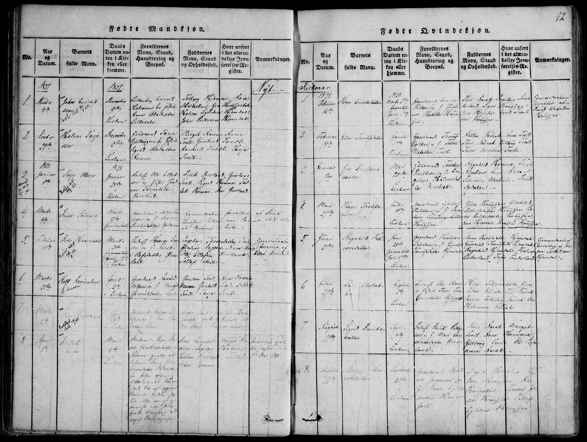 SAKO, Nissedal kirkebøker, F/Fb/L0001: Ministerialbok nr. II 1, 1814-1845, s. 52