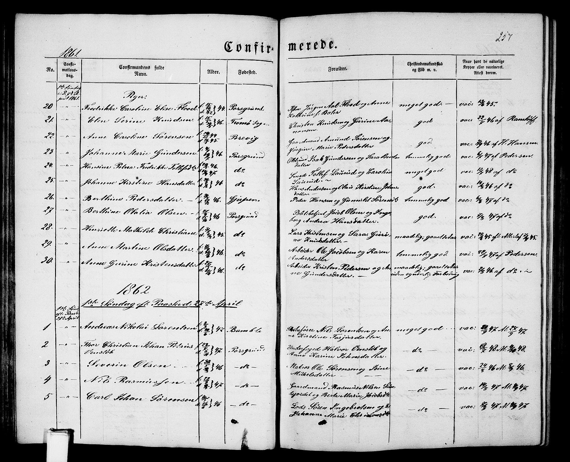 SAKO, Porsgrunn kirkebøker , G/Gb/L0004: Klokkerbok nr. II 4, 1853-1882, s. 257