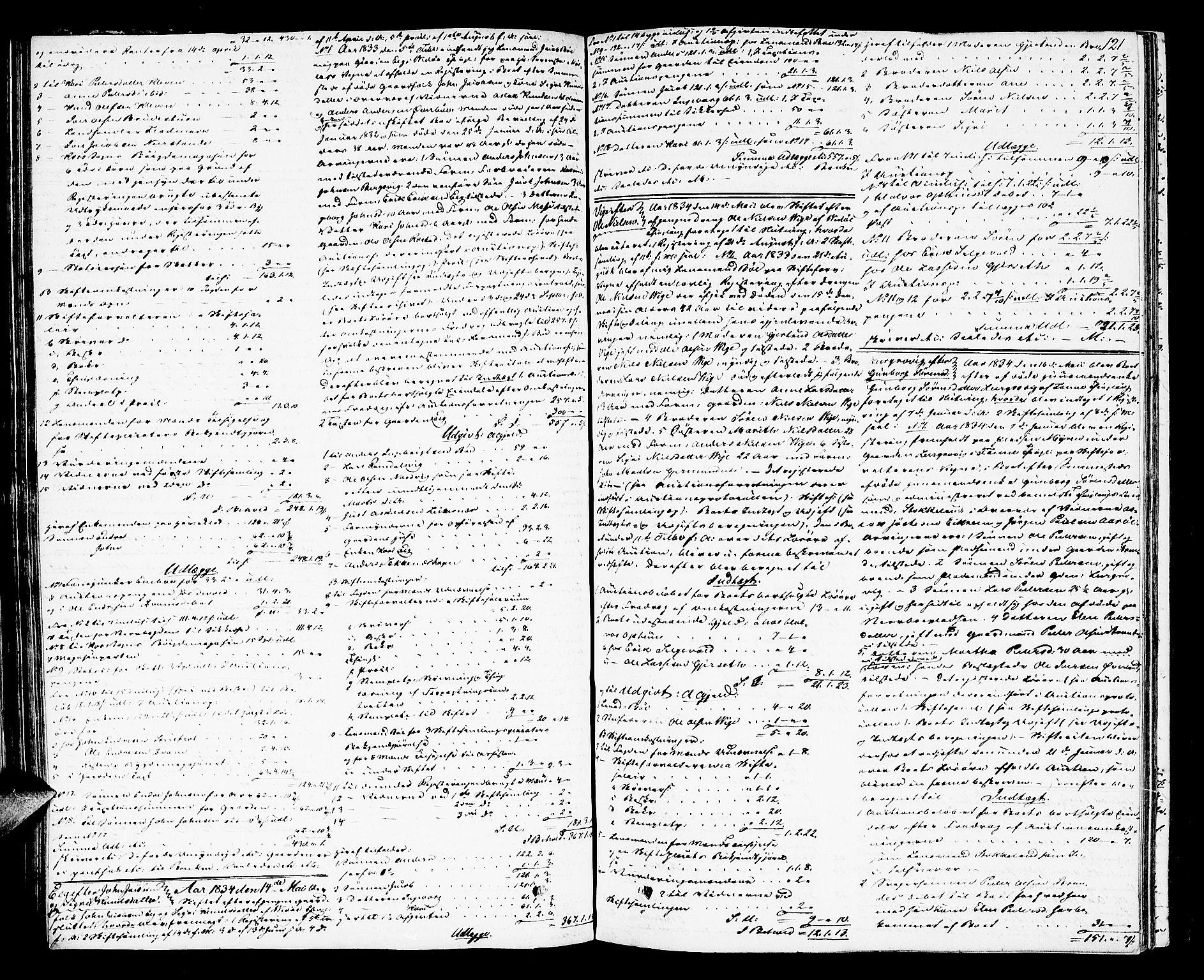 SAT, Romsdal sorenskriveri, 3/3A/L0017: Skifteutlodnings Protokoll 3, 1832-1840, s. 121