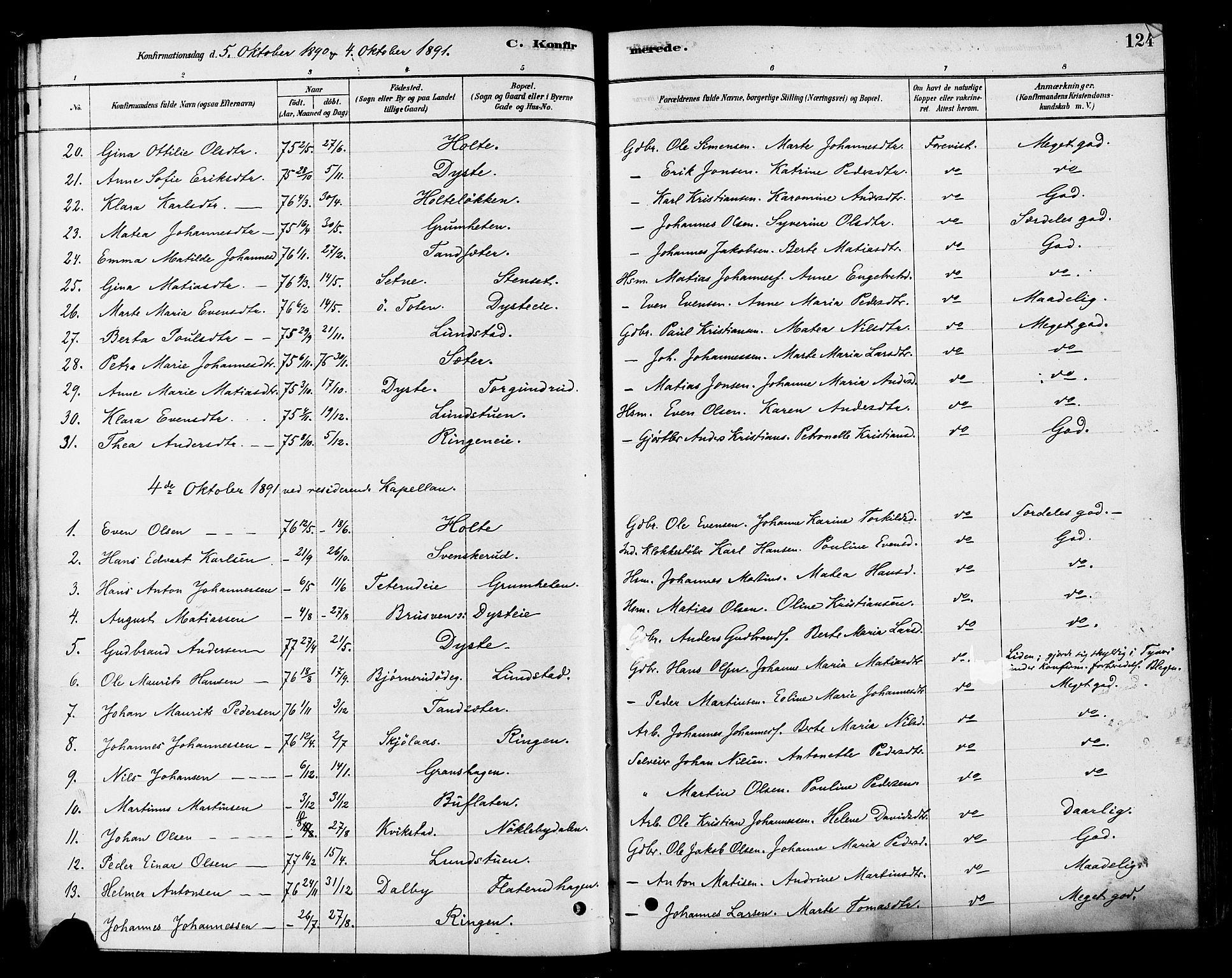 SAH, Vestre Toten prestekontor, H/Ha/Haa/L0010: Ministerialbok nr. 10, 1878-1894, s. 124