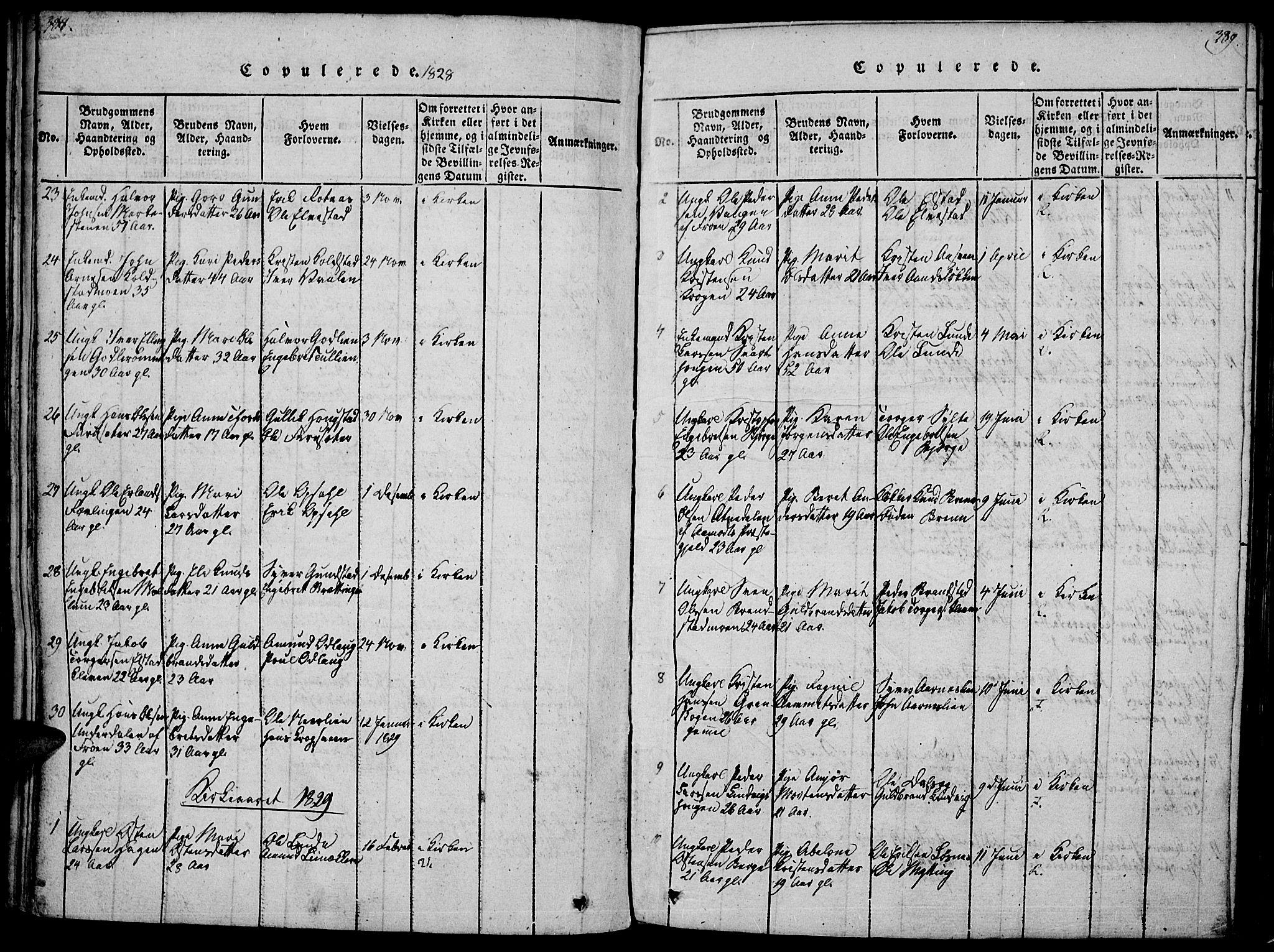 SAH, Ringebu prestekontor, Ministerialbok nr. 4, 1821-1839, s. 388-389