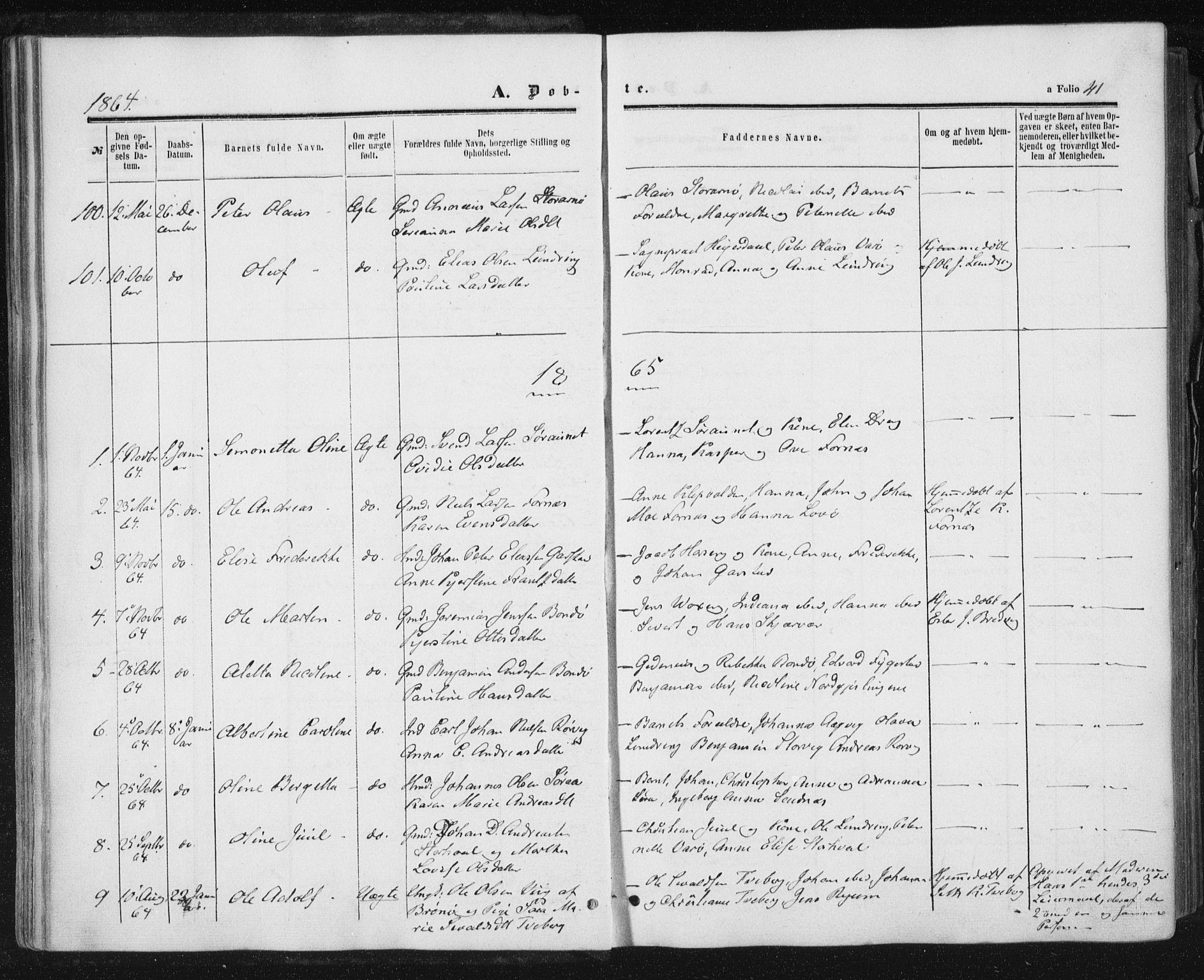 SAT, Ministerialprotokoller, klokkerbøker og fødselsregistre - Nord-Trøndelag, 784/L0670: Ministerialbok nr. 784A05, 1860-1876, s. 41