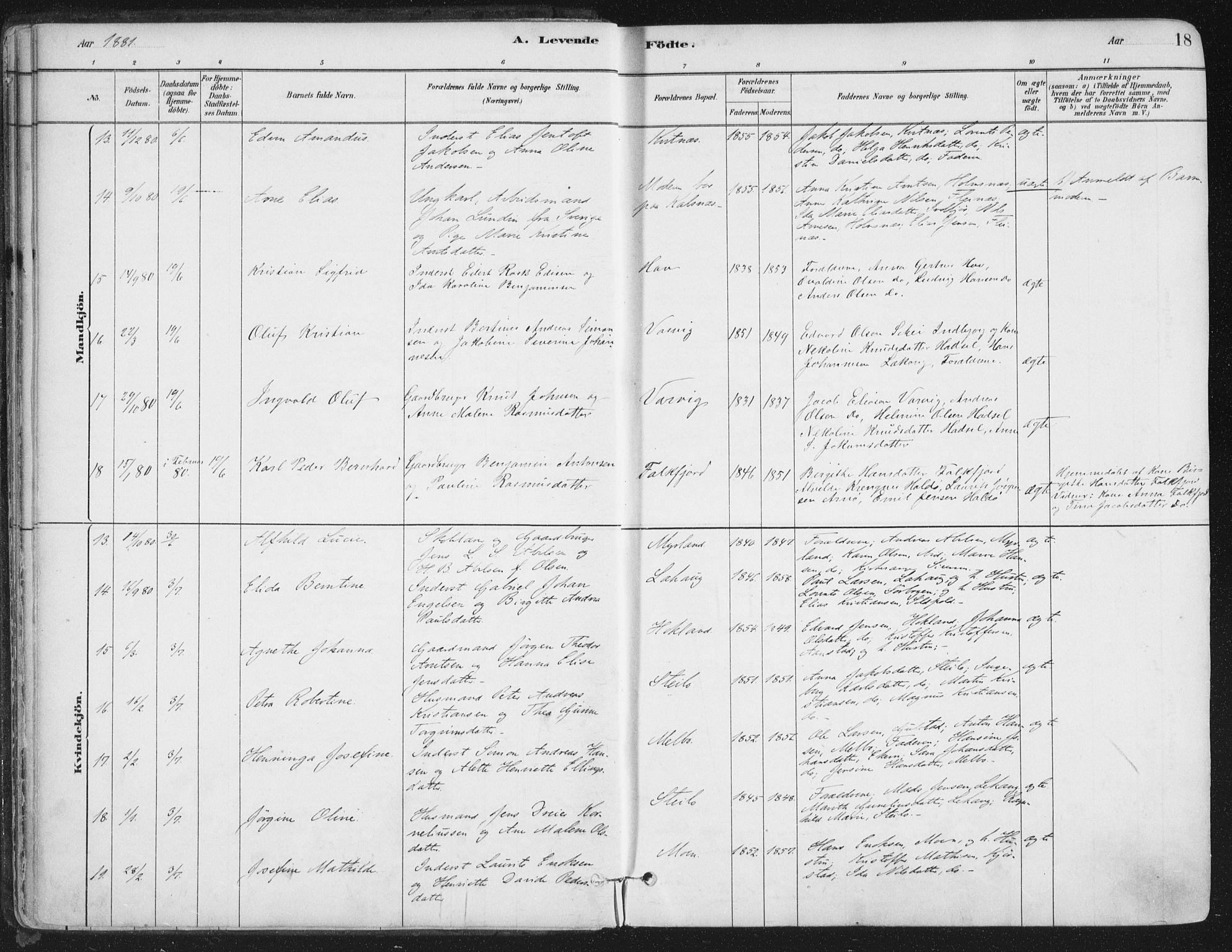 SAT, Ministerialprotokoller, klokkerbøker og fødselsregistre - Nordland, 888/L1244: Ministerialbok nr. 888A10, 1880-1890, s. 18