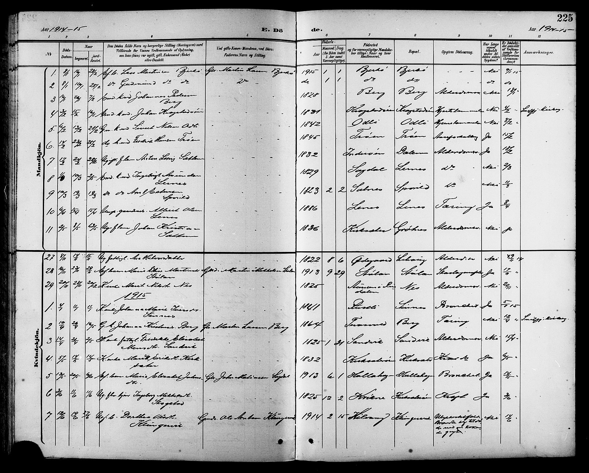 SAT, Ministerialprotokoller, klokkerbøker og fødselsregistre - Sør-Trøndelag, 630/L0505: Klokkerbok nr. 630C03, 1899-1914, s. 225