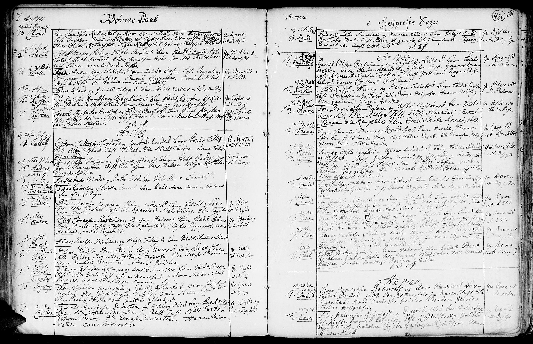 SAK, Hommedal sokneprestkontor, F/Fa/Fab/L0002: Ministerialbok nr. A 2 /3, 1740-1821, s. 420