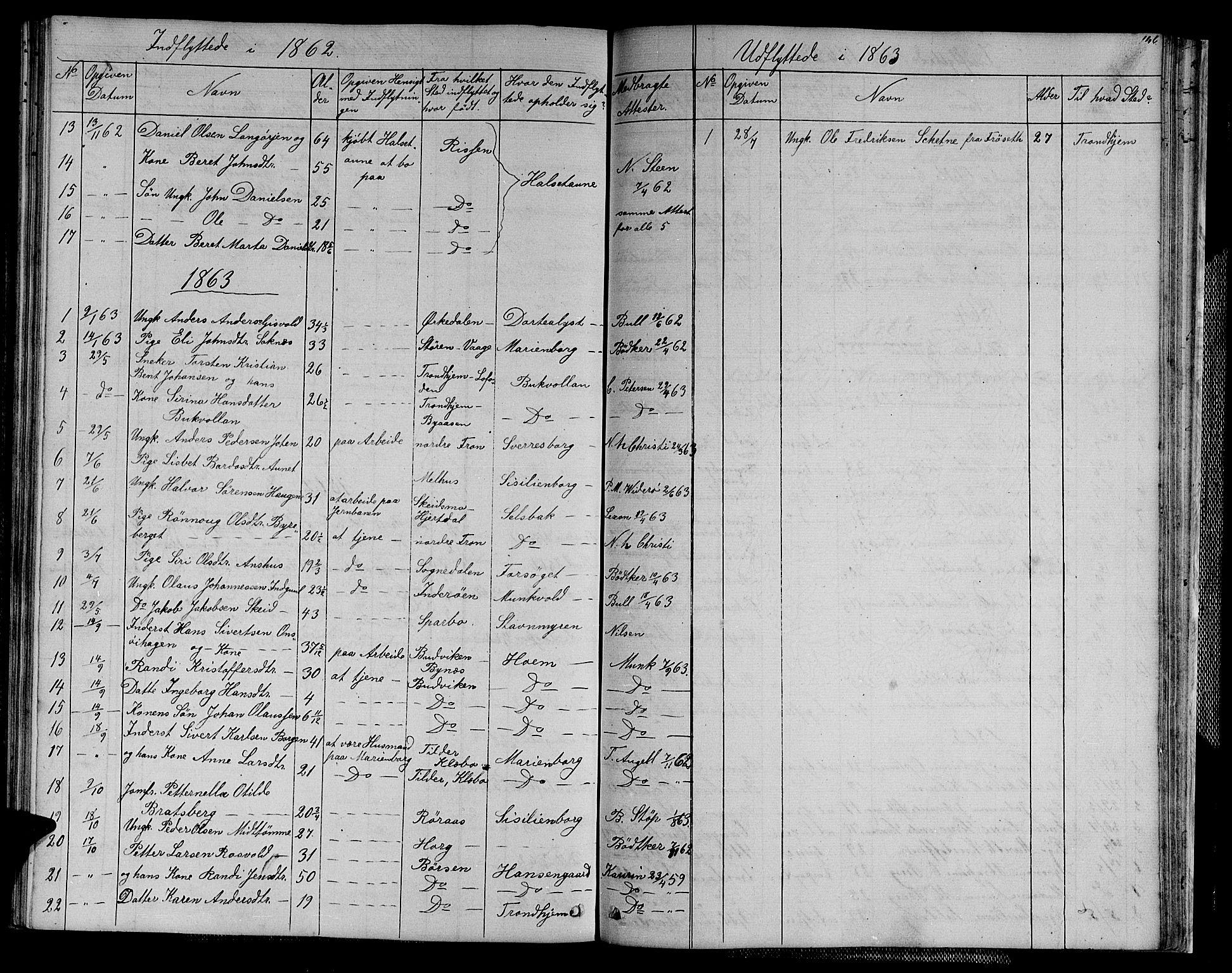SAT, Ministerialprotokoller, klokkerbøker og fødselsregistre - Sør-Trøndelag, 611/L0353: Klokkerbok nr. 611C01, 1854-1881, s. 146