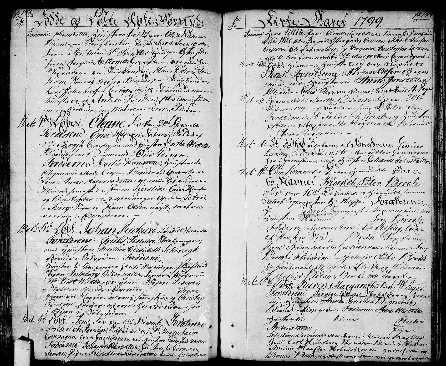 SAO, Halden prestekontor Kirkebøker, F/Fa/L0002: Ministerialbok nr. I 2, 1792-1812, s. 198-199