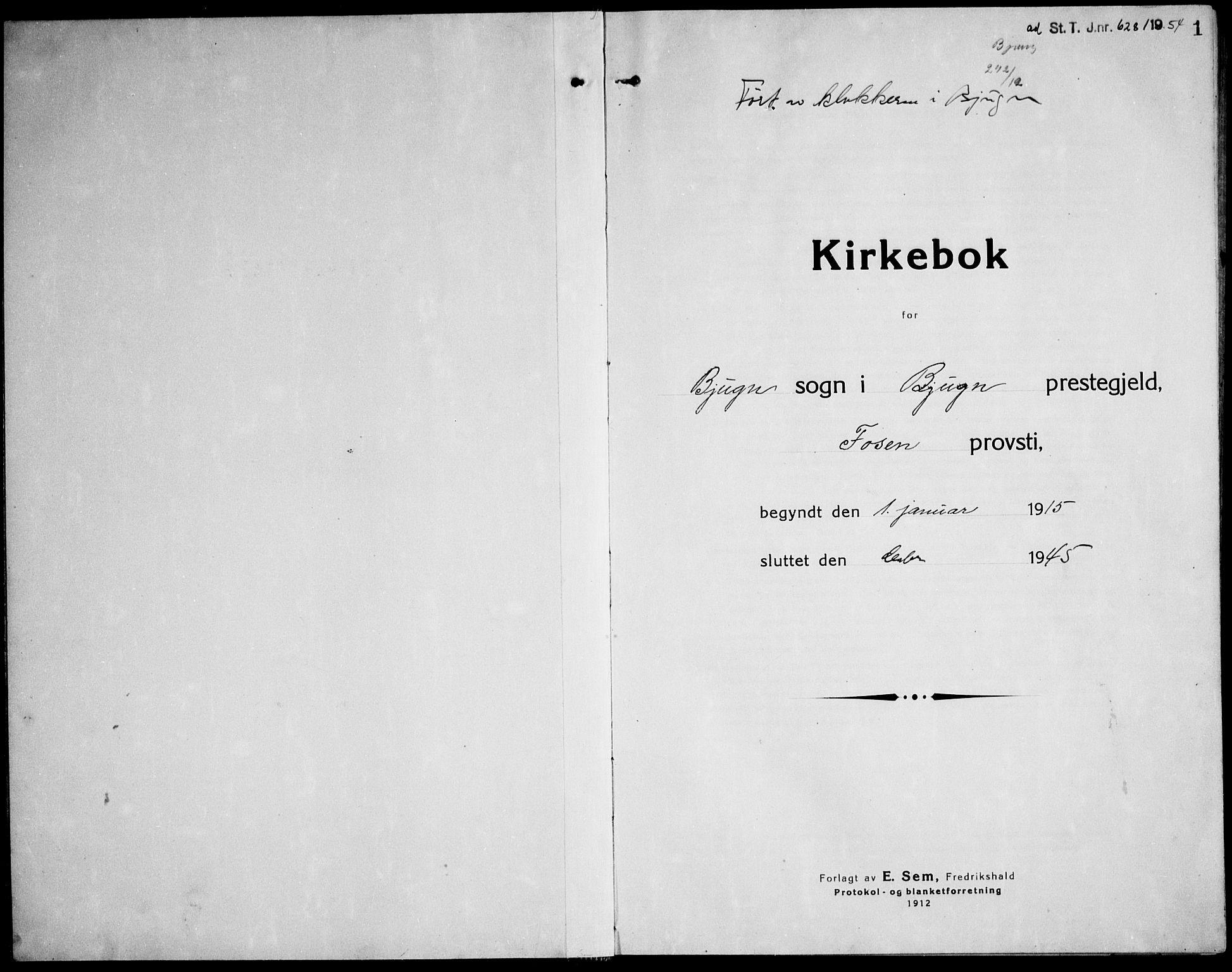 SAT, Ministerialprotokoller, klokkerbøker og fødselsregistre - Sør-Trøndelag, 651/L0648: Klokkerbok nr. 651C02, 1915-1945, s. 1