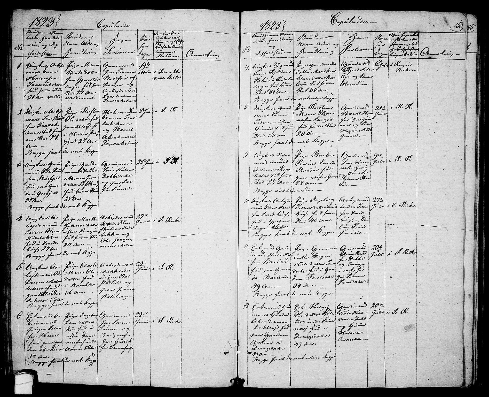 SAKO, Sannidal kirkebøker, F/Fa/L0005: Ministerialbok nr. 5, 1823-1830, s. 153