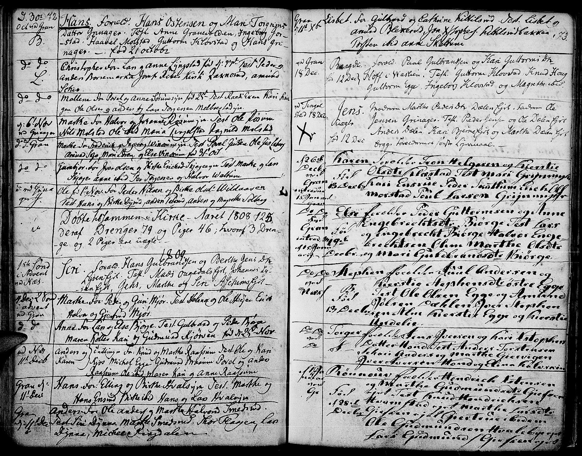 SAH, Gran prestekontor, Ministerialbok nr. 7, 1804-1815, s. 72-73