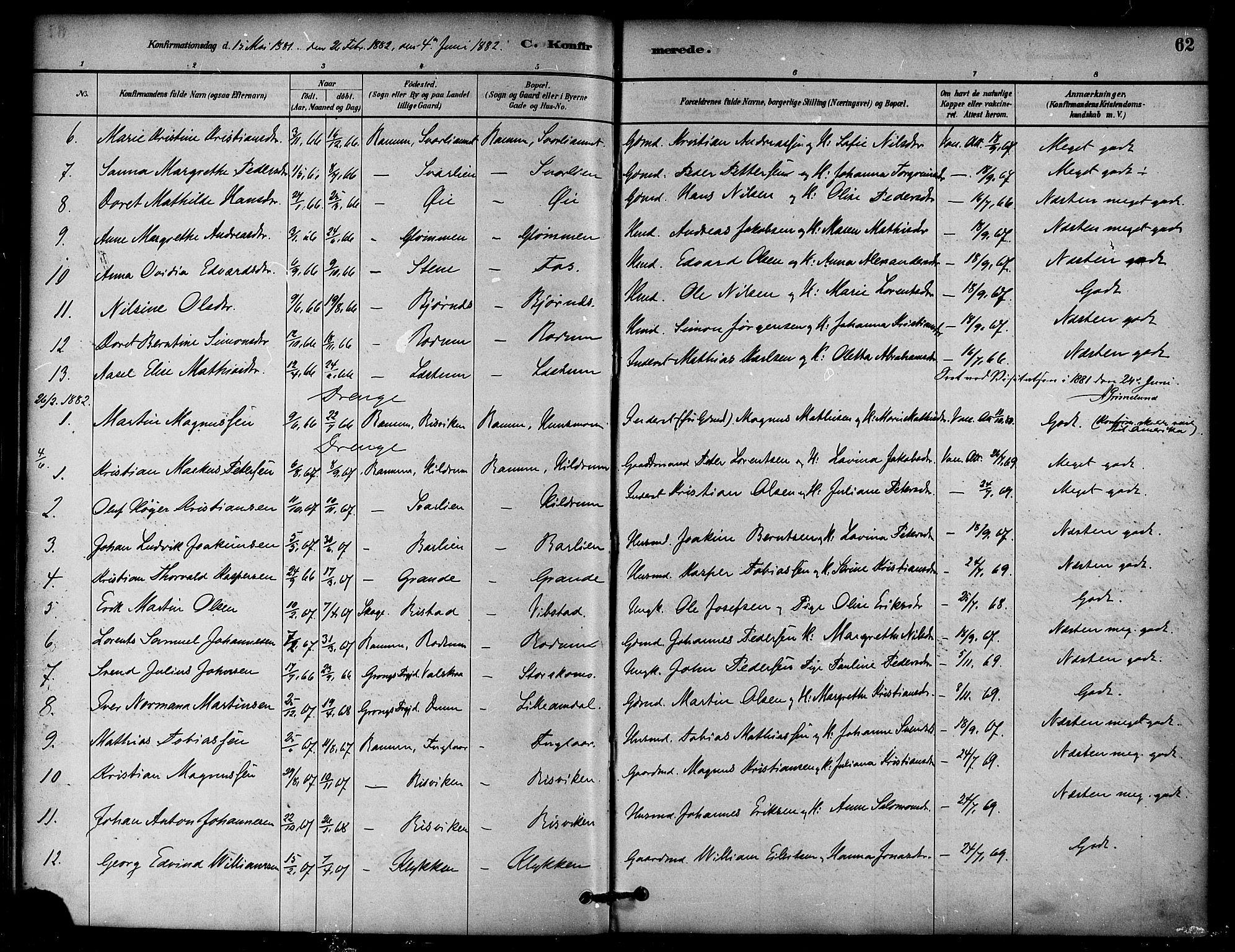 SAT, Ministerialprotokoller, klokkerbøker og fødselsregistre - Nord-Trøndelag, 764/L0555: Ministerialbok nr. 764A10, 1881-1896, s. 62