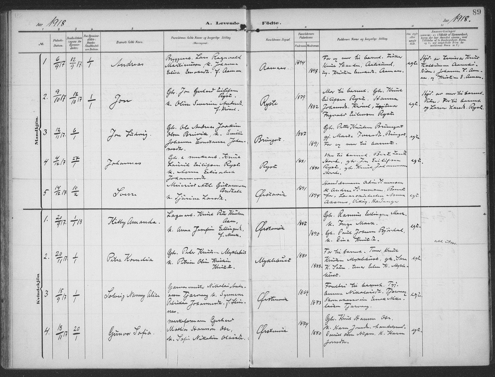 SAT, Ministerialprotokoller, klokkerbøker og fødselsregistre - Møre og Romsdal, 513/L0178: Ministerialbok nr. 513A05, 1906-1919, s. 89