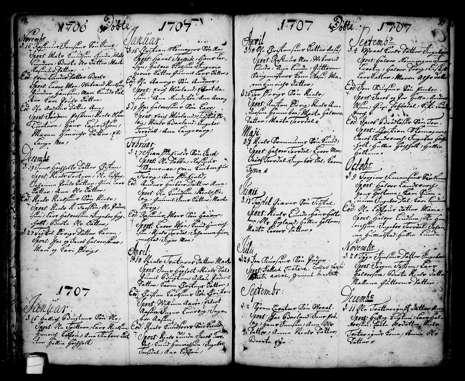 SAKO, Sannidal kirkebøker, F/Fa/L0001: Ministerialbok nr. 1, 1702-1766, s. 98-99